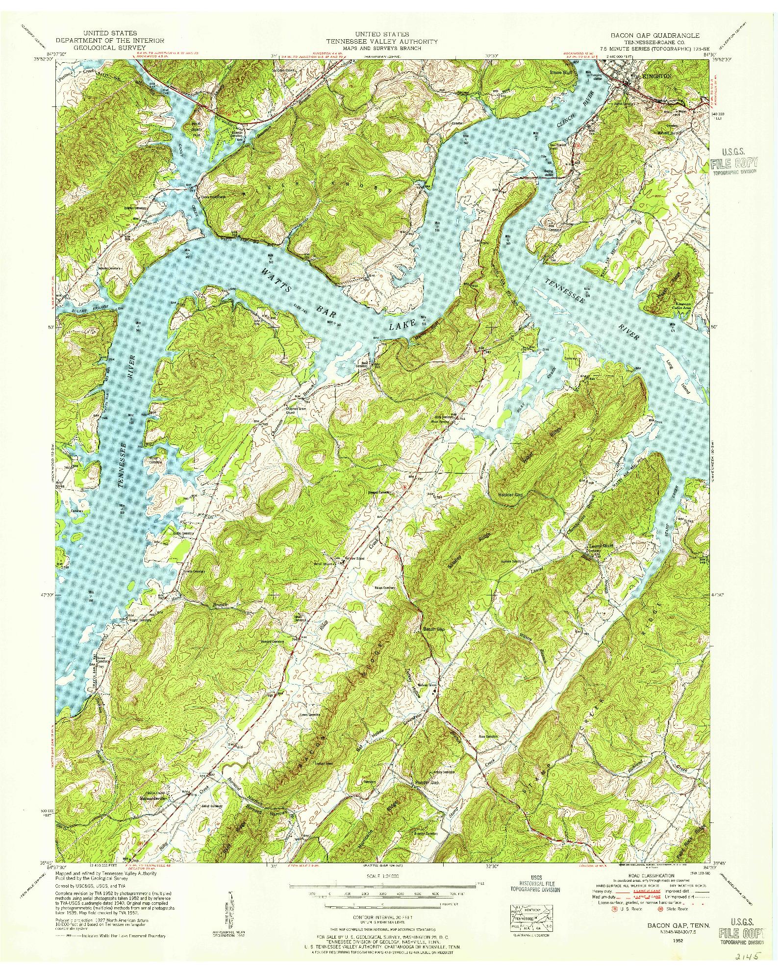 USGS 1:24000-SCALE QUADRANGLE FOR BACON GAP, TN 1952