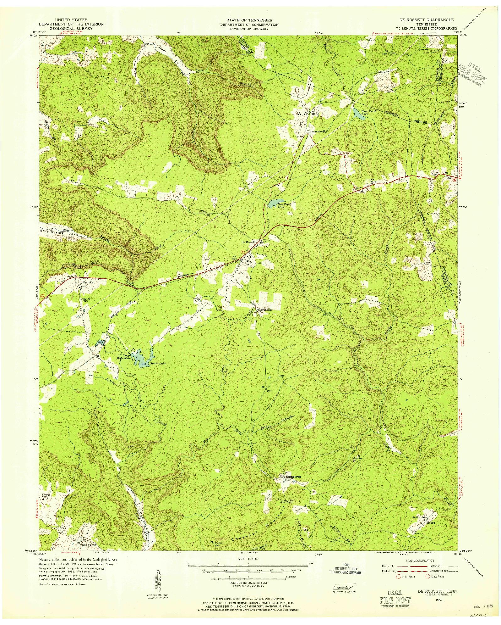 USGS 1:24000-SCALE QUADRANGLE FOR DE ROSSETT, TN 1954