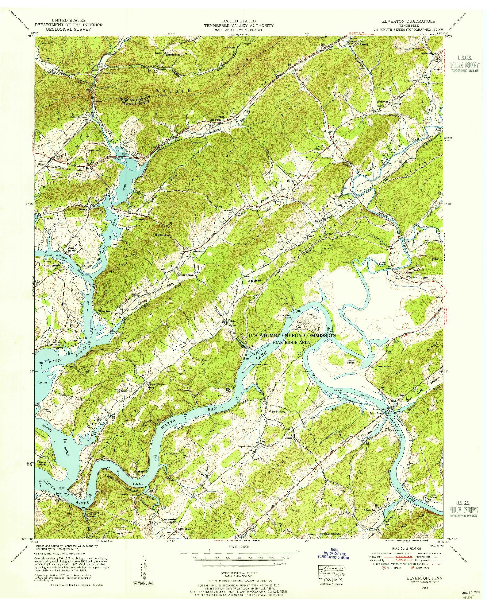 USGS 1:24000-SCALE QUADRANGLE FOR ELVERTON, TN 1953