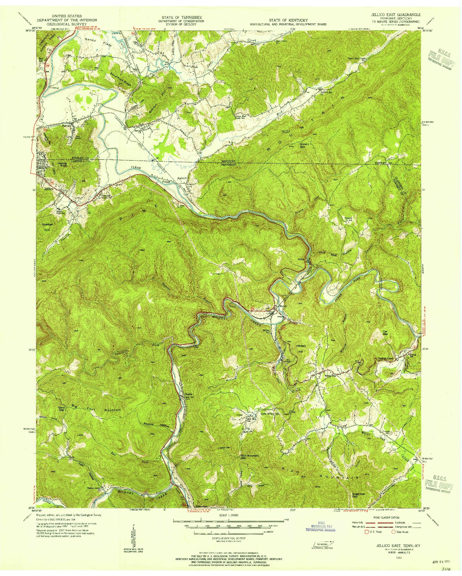 USGS 1:24000-SCALE QUADRANGLE FOR JELLICO EAST, TN 1953