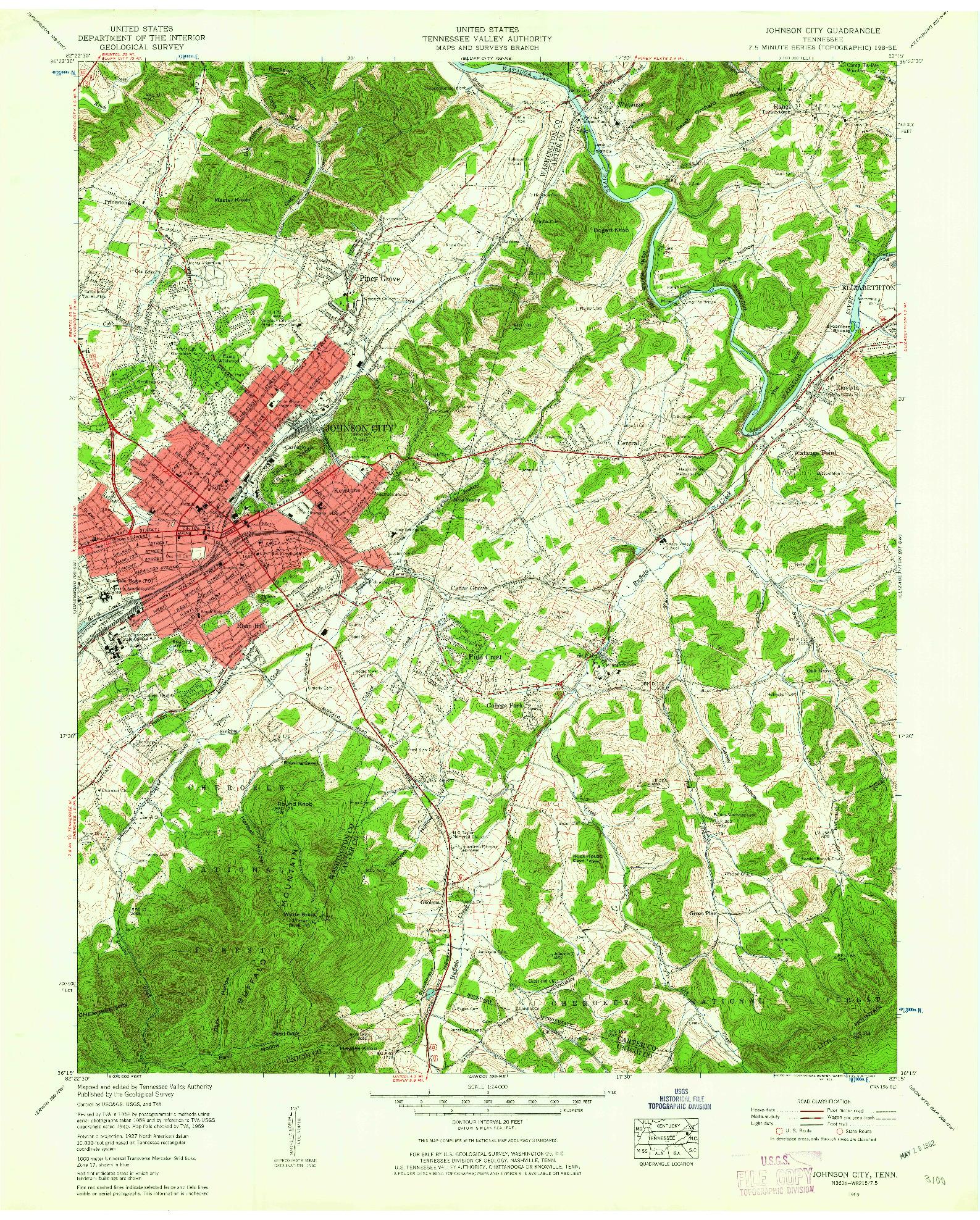 USGS 1:24000-SCALE QUADRANGLE FOR JOHNSON CITY, TN 1955