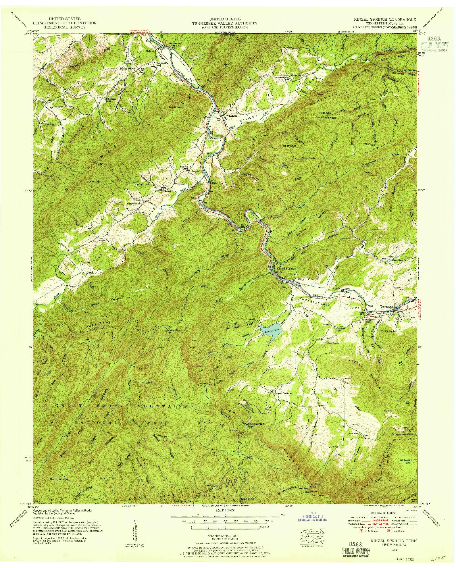 USGS 1:24000-SCALE QUADRANGLE FOR KINZEL SPRINGS, TN 1953
