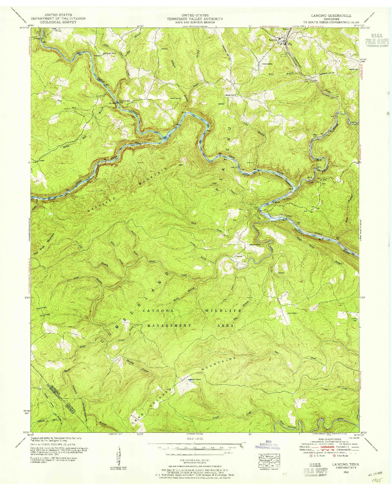 USGS 1:24000-SCALE QUADRANGLE FOR LANCING, TN 1952