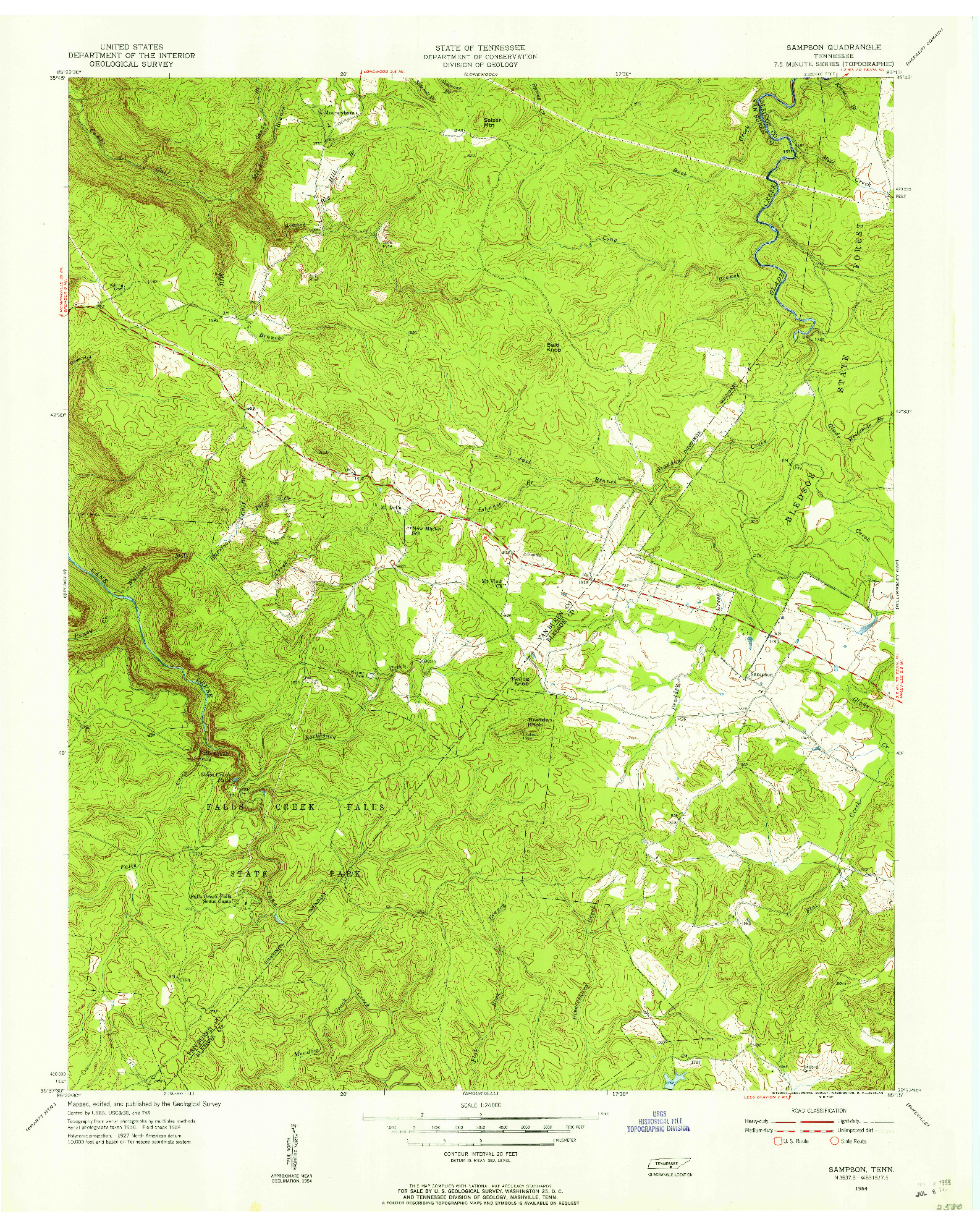 USGS 1:24000-SCALE QUADRANGLE FOR SAMPSON, TN 1954