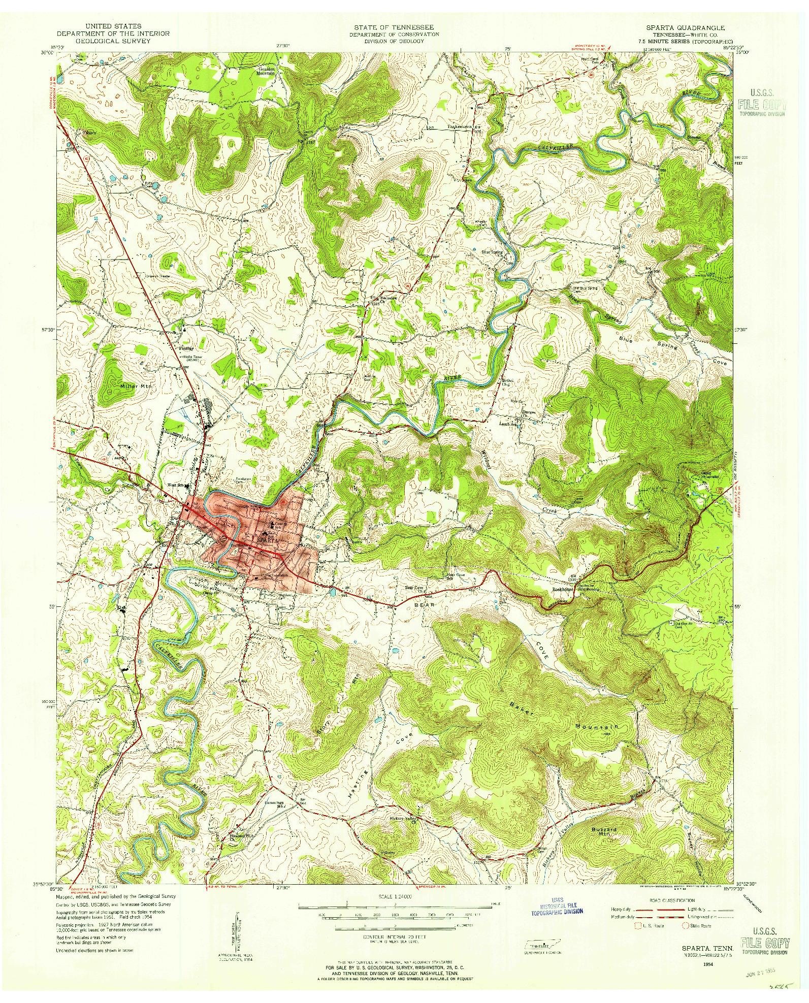 USGS 1:24000-SCALE QUADRANGLE FOR SPARTA, TN 1954