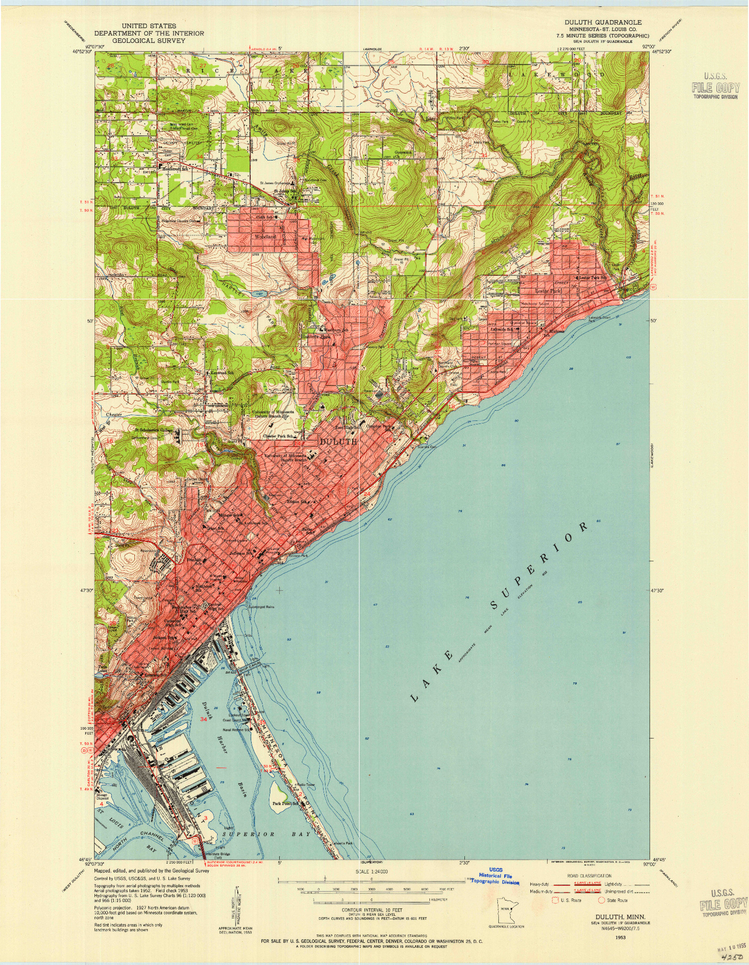 USGS 1:24000-SCALE QUADRANGLE FOR DULUTH, MN 1953