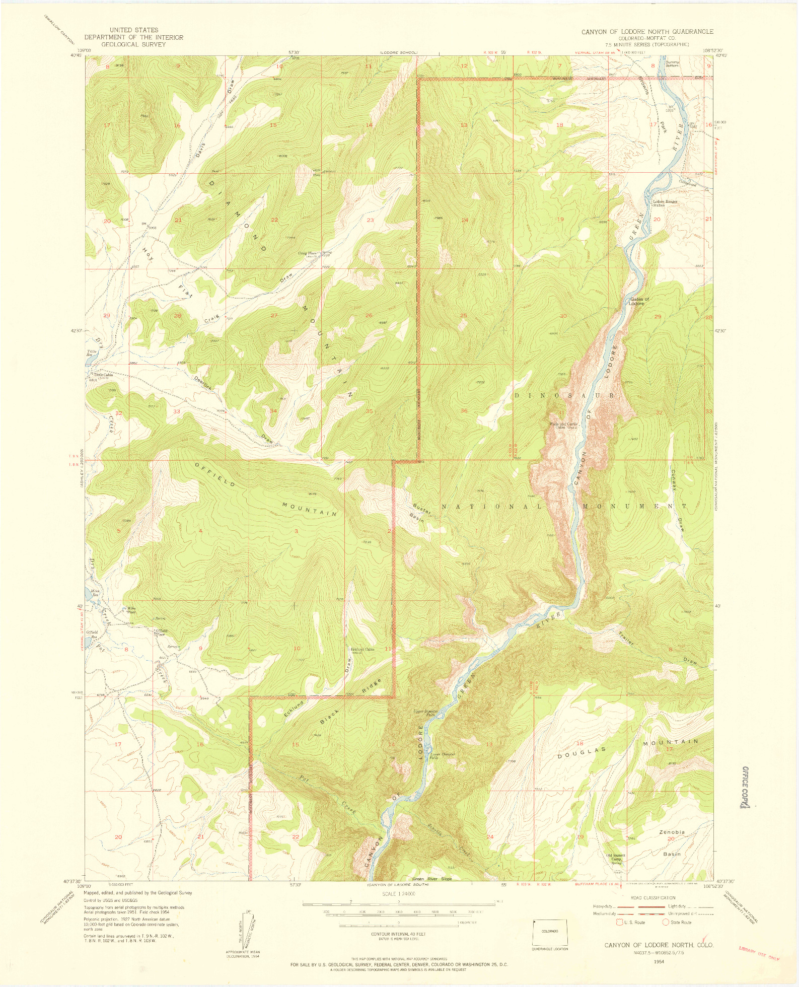 USGS 1:24000-SCALE QUADRANGLE FOR CANYON OF LODORE NORTH, CO 1954