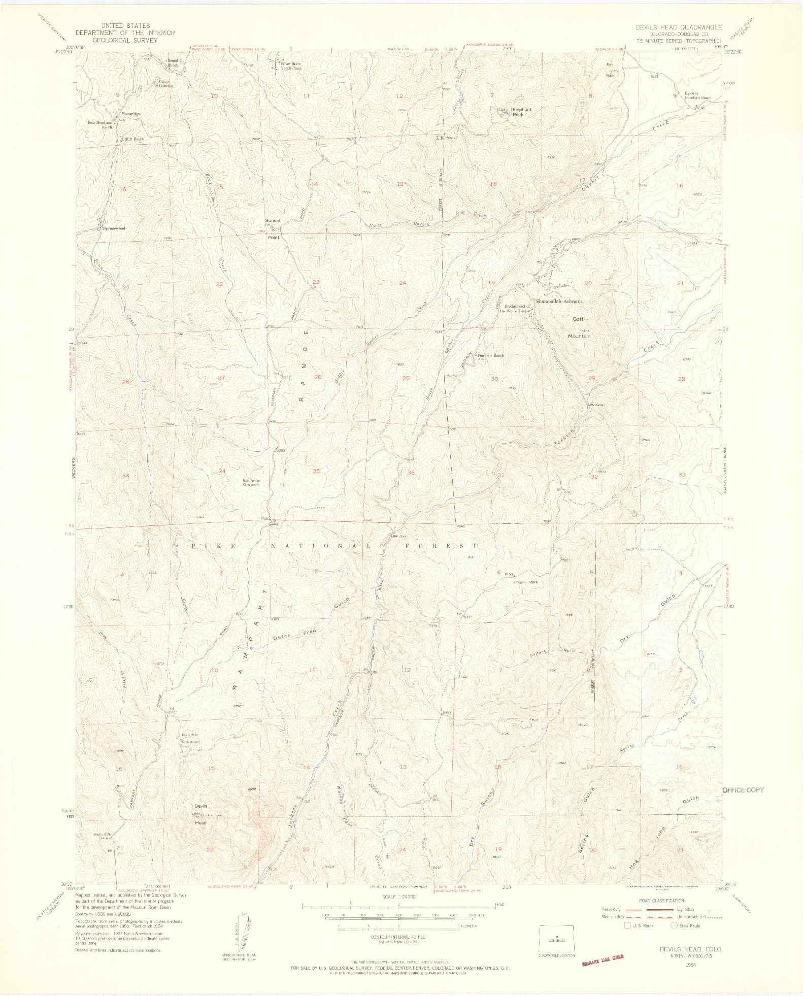 USGS 1:24000-SCALE QUADRANGLE FOR DEVILS HEAD, CO 1954