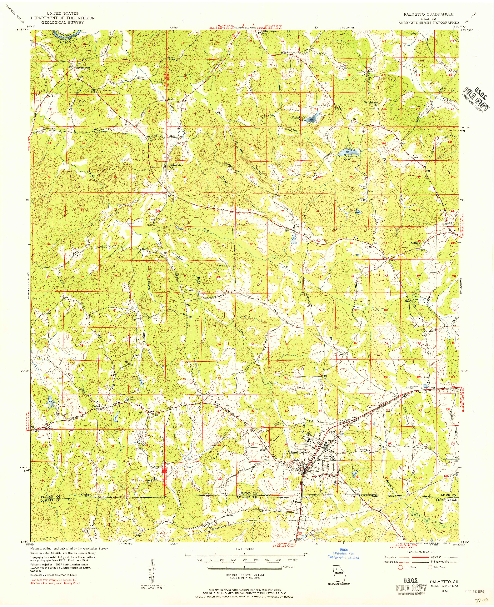 USGS 1:24000-SCALE QUADRANGLE FOR PALMETTO, GA 1954