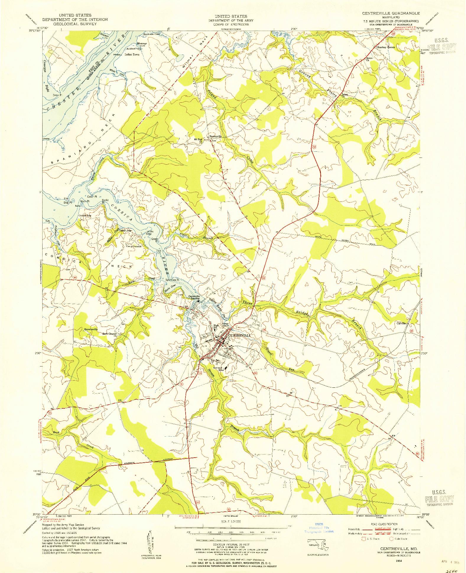 USGS 1:24000-SCALE QUADRANGLE FOR CENTREVILLE, MD 1954