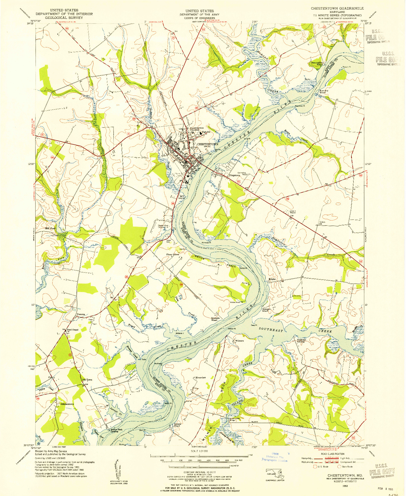 USGS 1:24000-SCALE QUADRANGLE FOR CHESTERTOWN, MD 1953