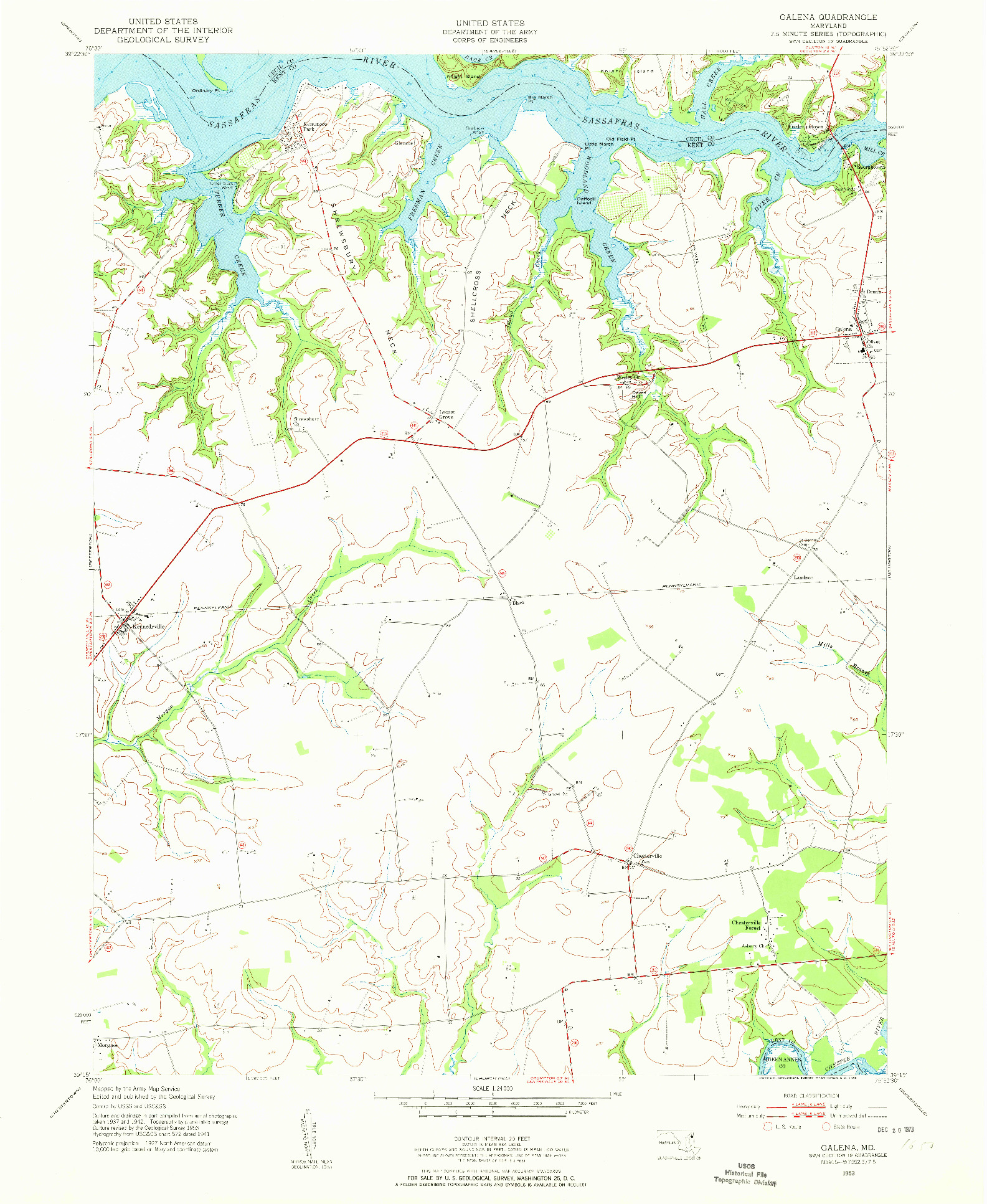 USGS 1:24000-SCALE QUADRANGLE FOR GALENA, MD 1953