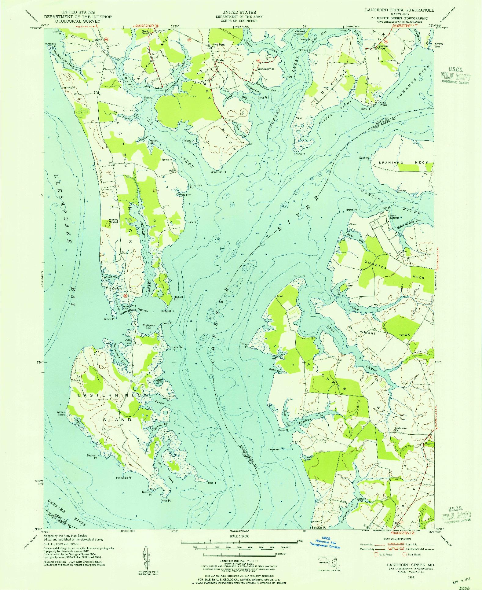 USGS 1:24000-SCALE QUADRANGLE FOR LANGFORD CREEK, MD 1954