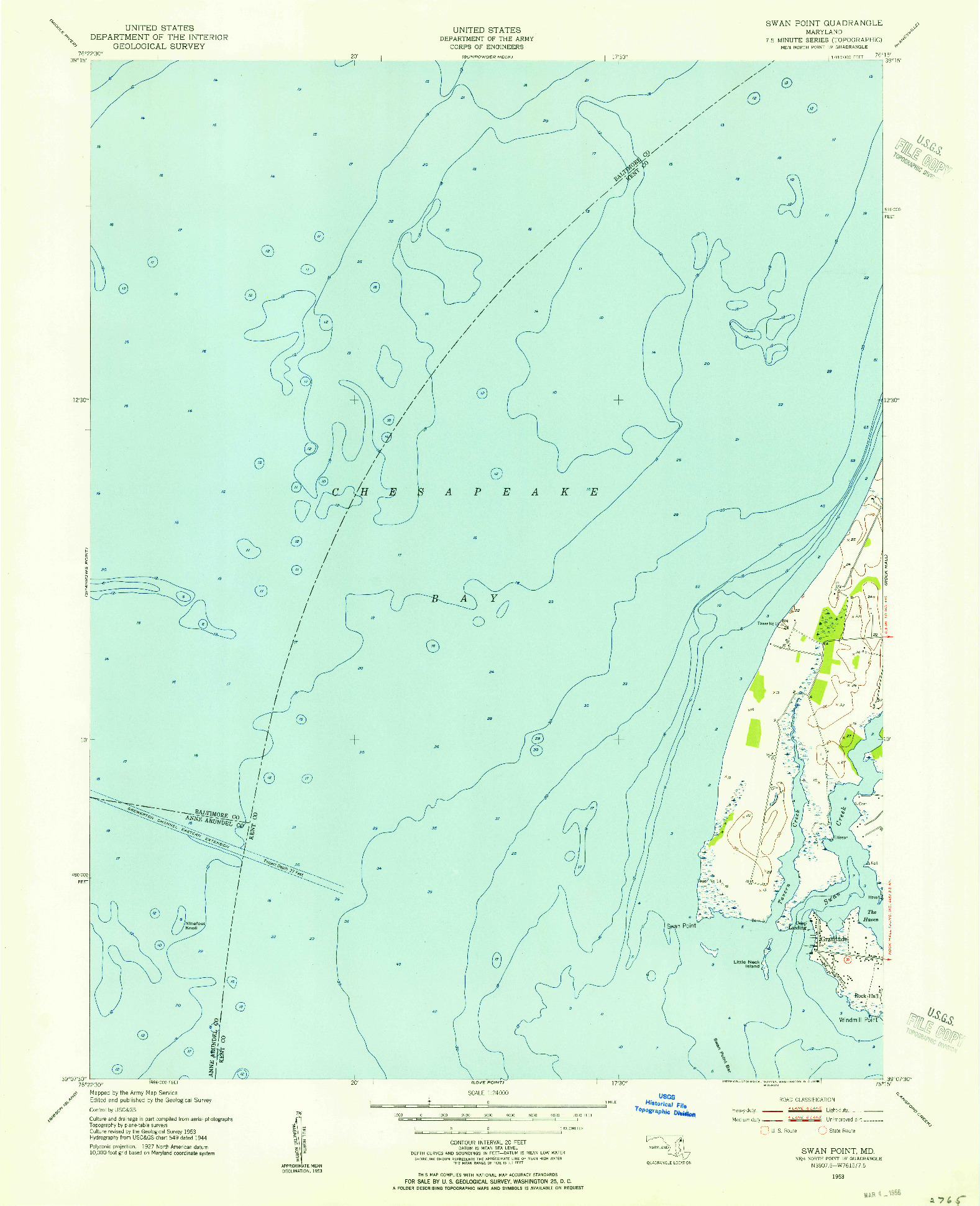 USGS 1:24000-SCALE QUADRANGLE FOR SWAN POINT, MD 1953