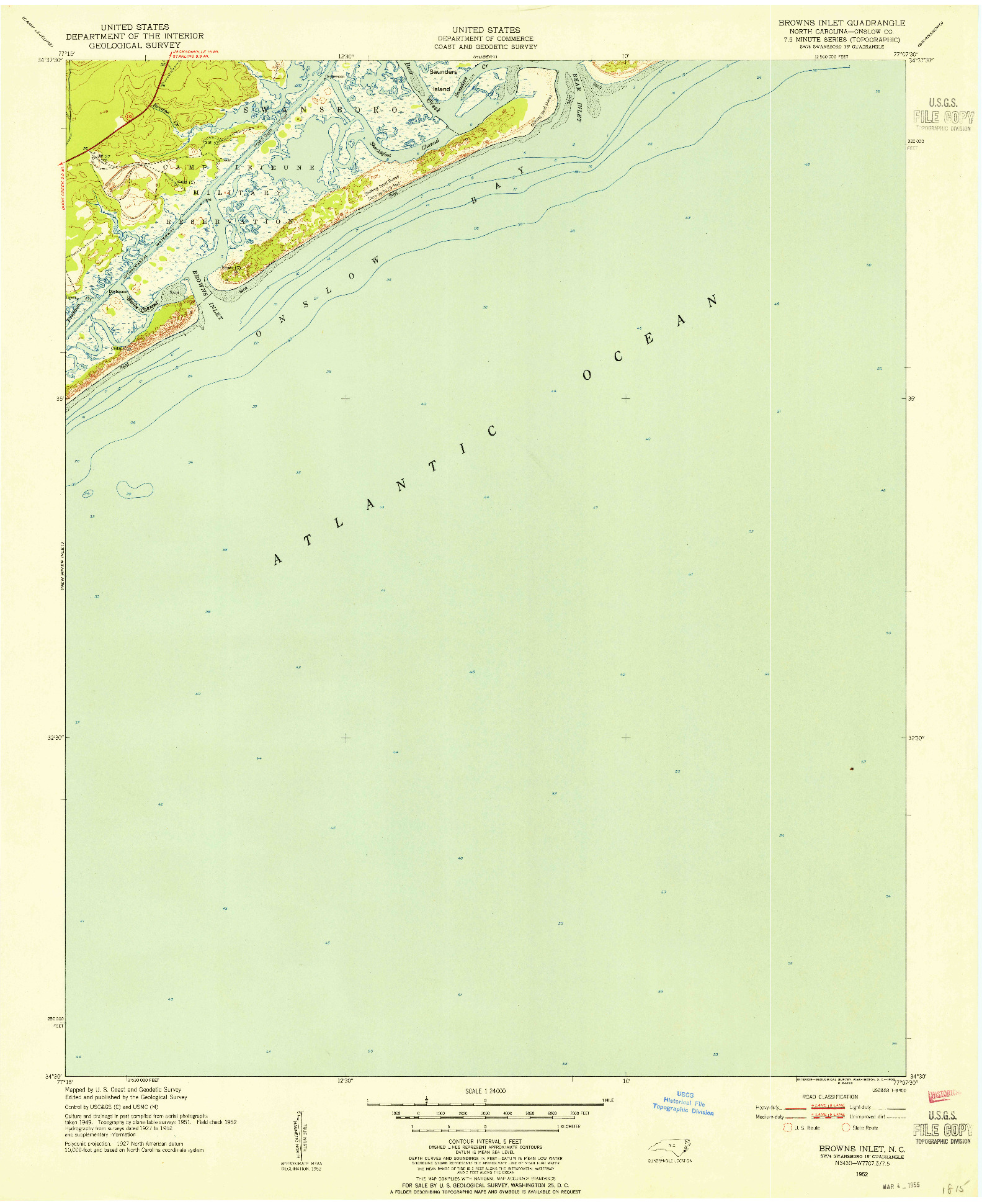 USGS 1:24000-SCALE QUADRANGLE FOR BROWNS INLET, NC 1952