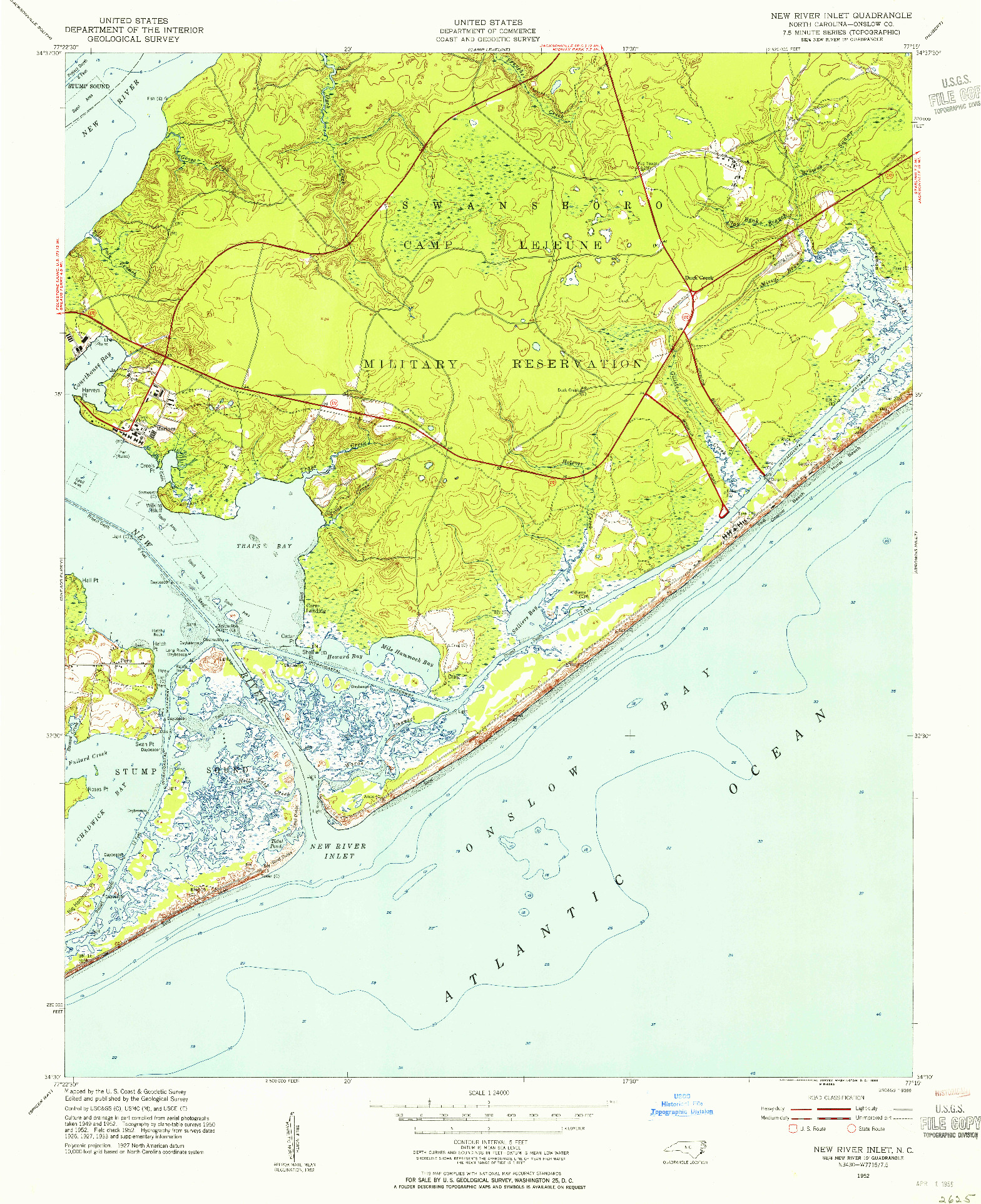 USGS 1:24000-SCALE QUADRANGLE FOR NEW RIVER INLET, NC 1952