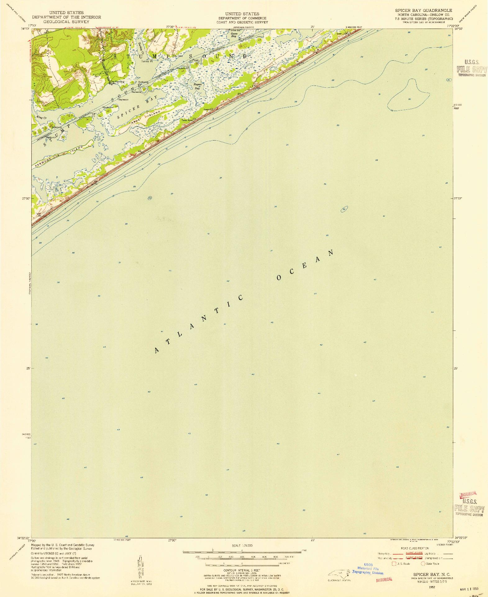 USGS 1:24000-SCALE QUADRANGLE FOR SPICER BAY, NC 1952