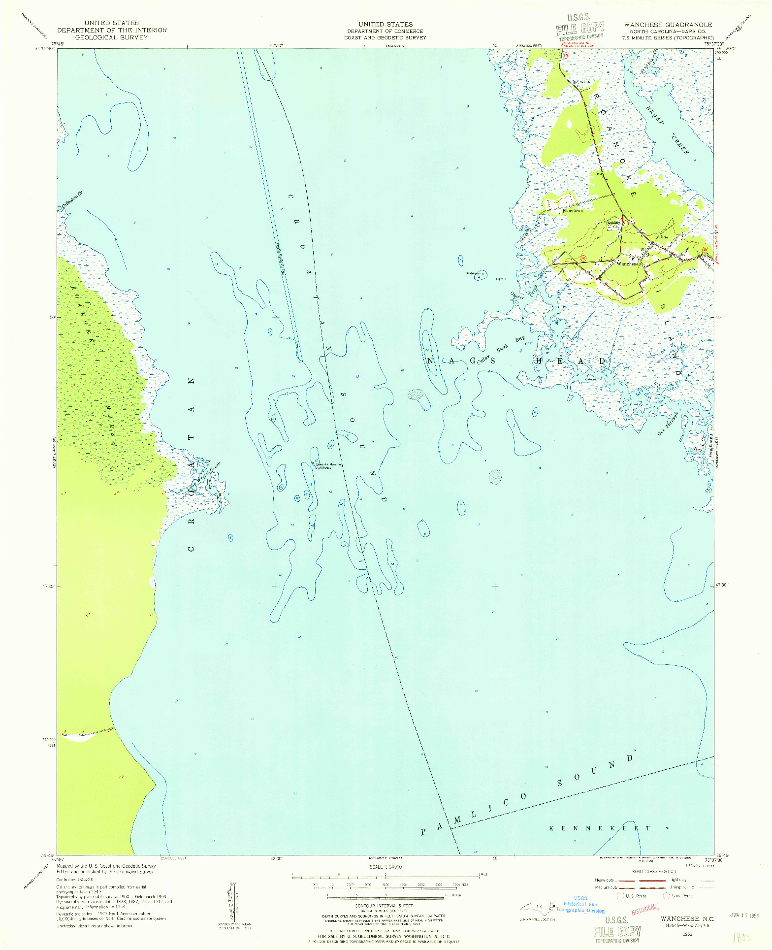 USGS 1:24000-SCALE QUADRANGLE FOR WANCHESE, NC 1953