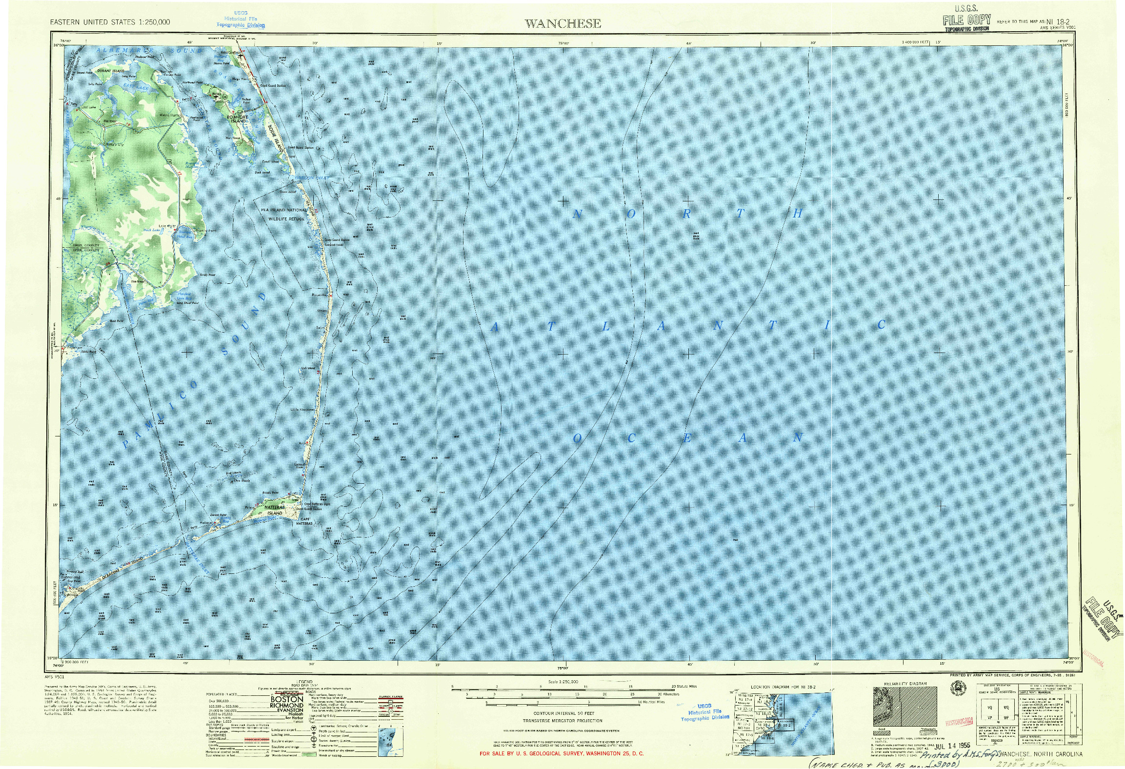 USGS 1:250000-SCALE QUADRANGLE FOR WANCHESE, NC 1955
