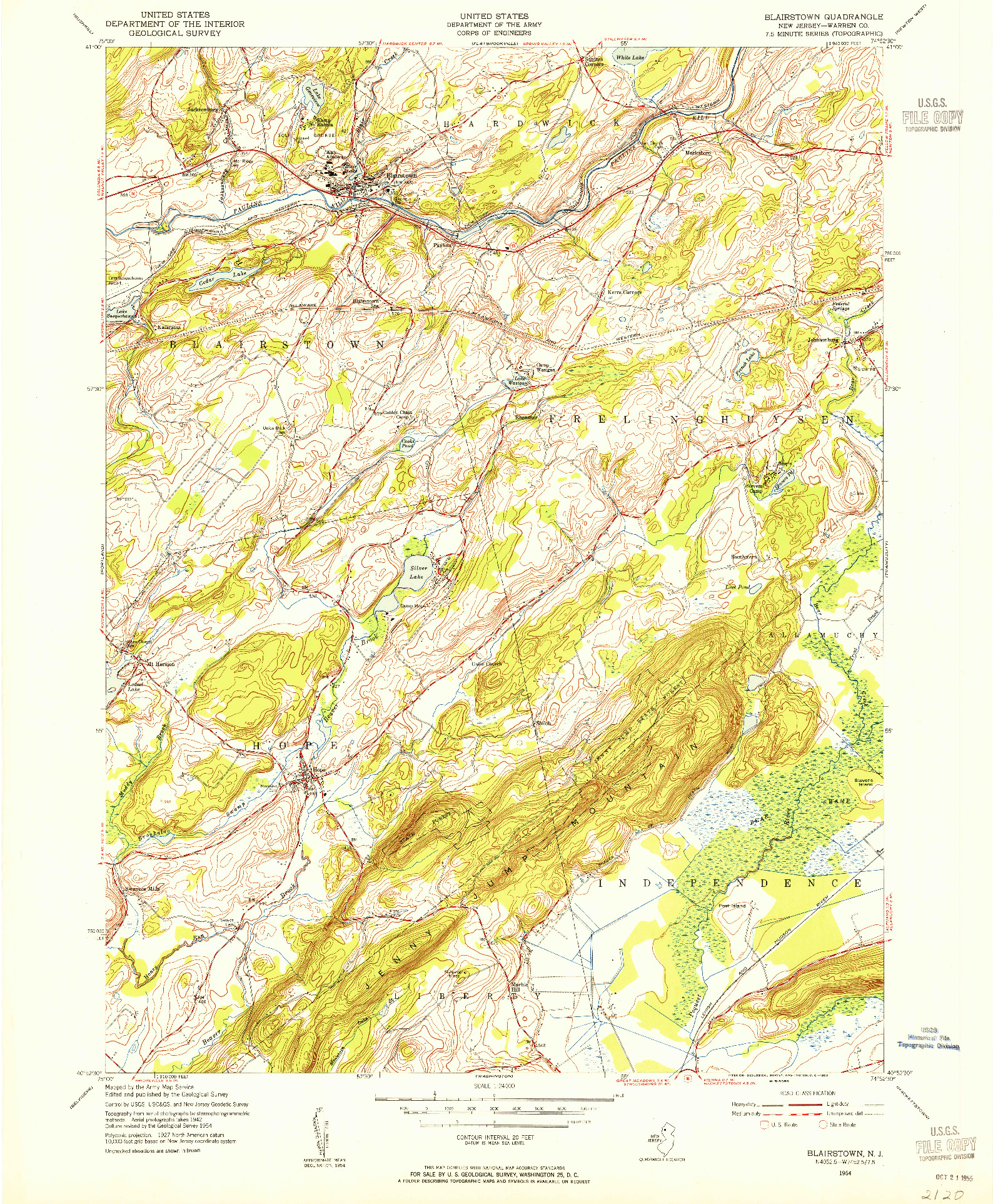 USGS 1:24000-SCALE QUADRANGLE FOR BLAIRSTOWN, NJ 1954