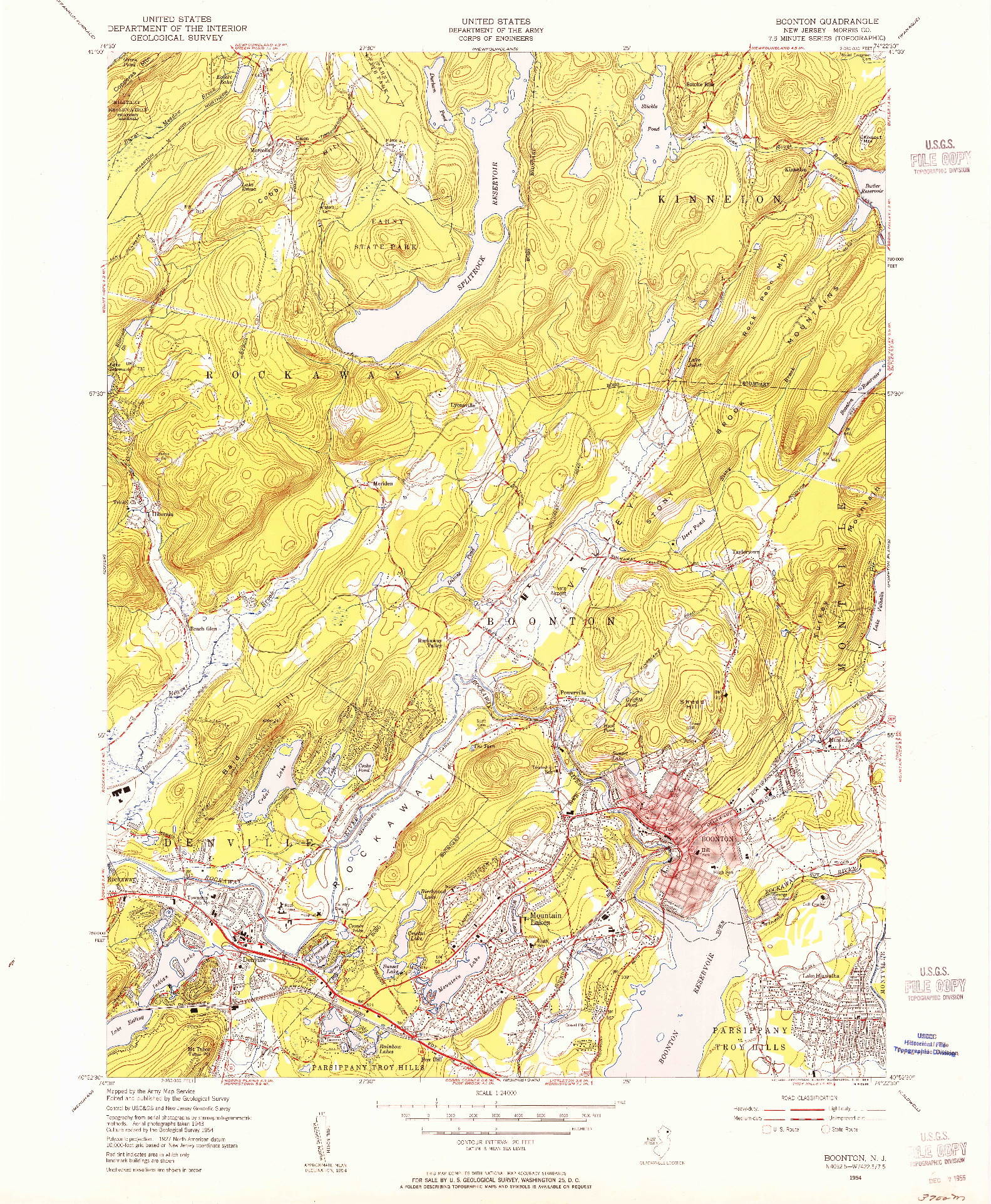 USGS 1:24000-SCALE QUADRANGLE FOR BOONTON, NJ 1954