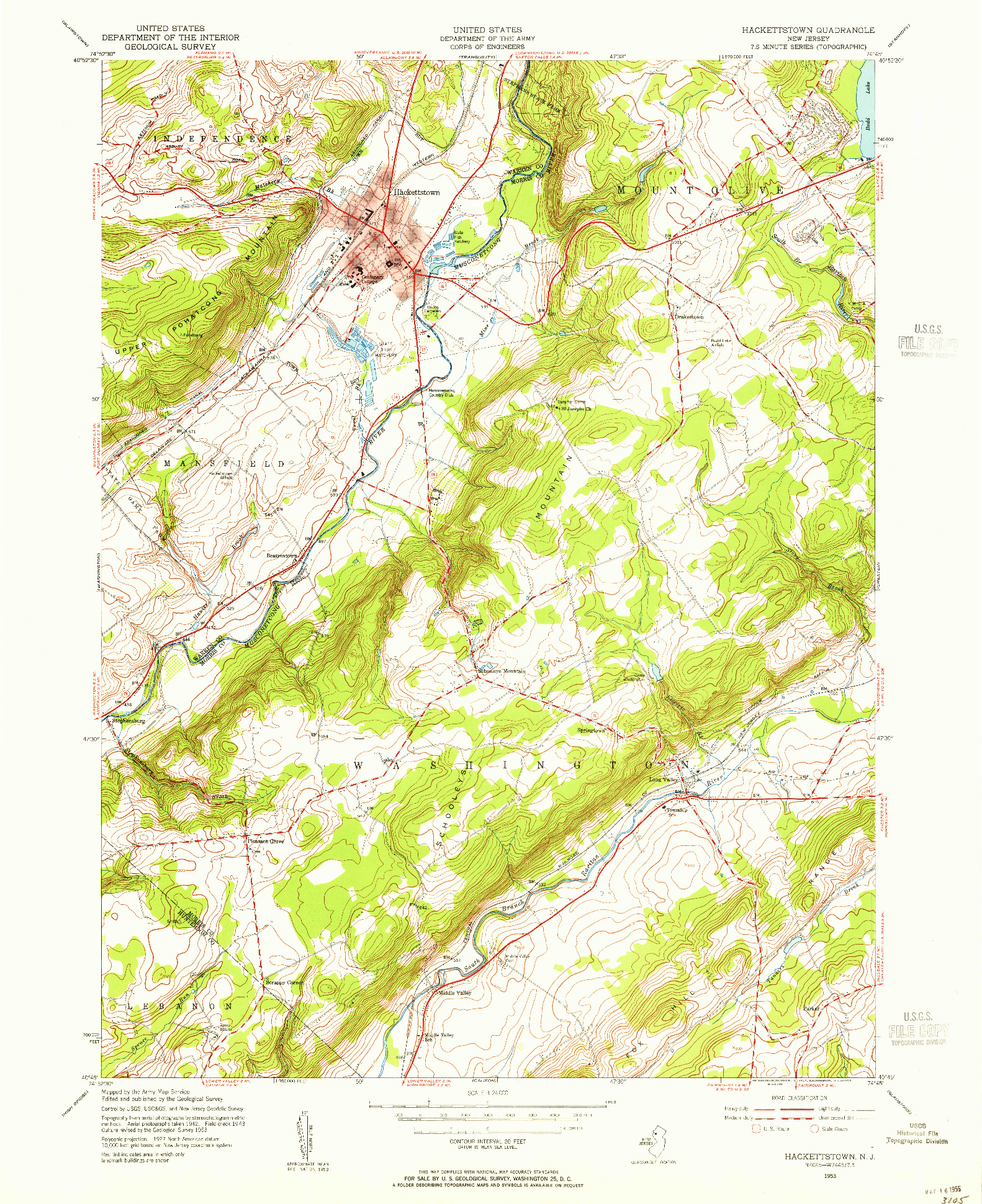 USGS 1:24000-SCALE QUADRANGLE FOR HACKETTSTOWN, NJ 1953