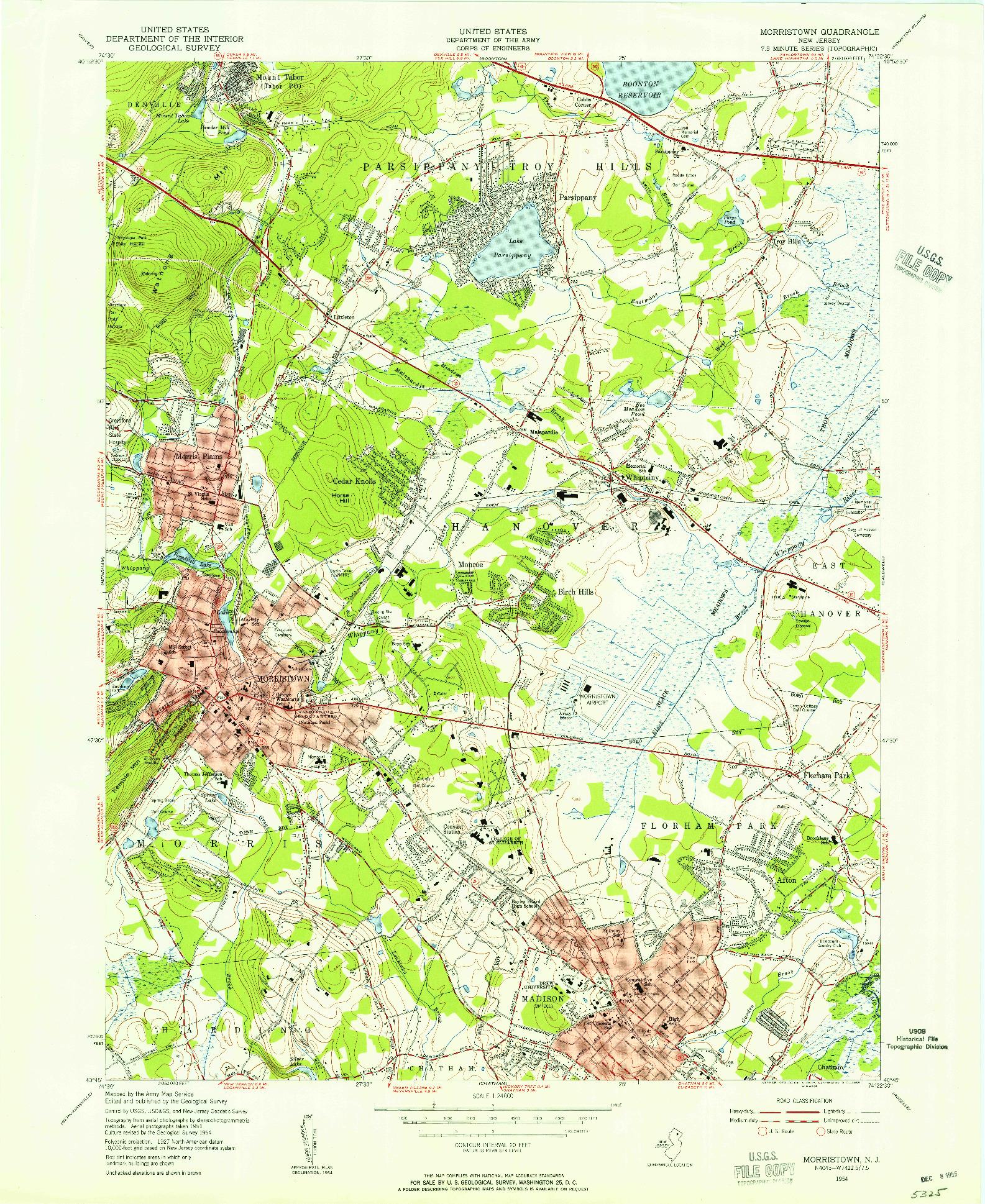 USGS 1:24000-SCALE QUADRANGLE FOR MORRISTOWN, NJ 1954