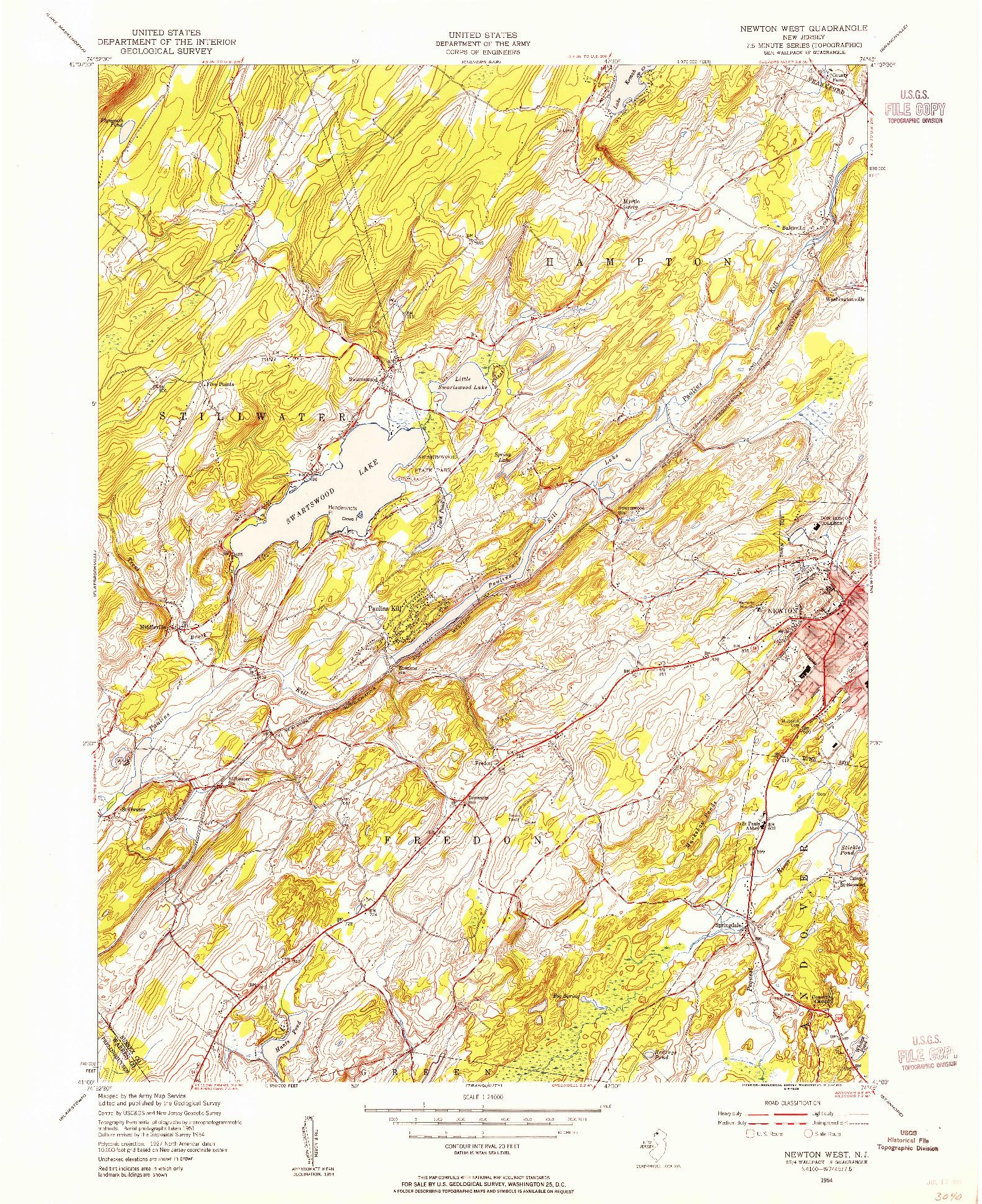 USGS 1:24000-SCALE QUADRANGLE FOR NEWTON WEST, NJ 1954