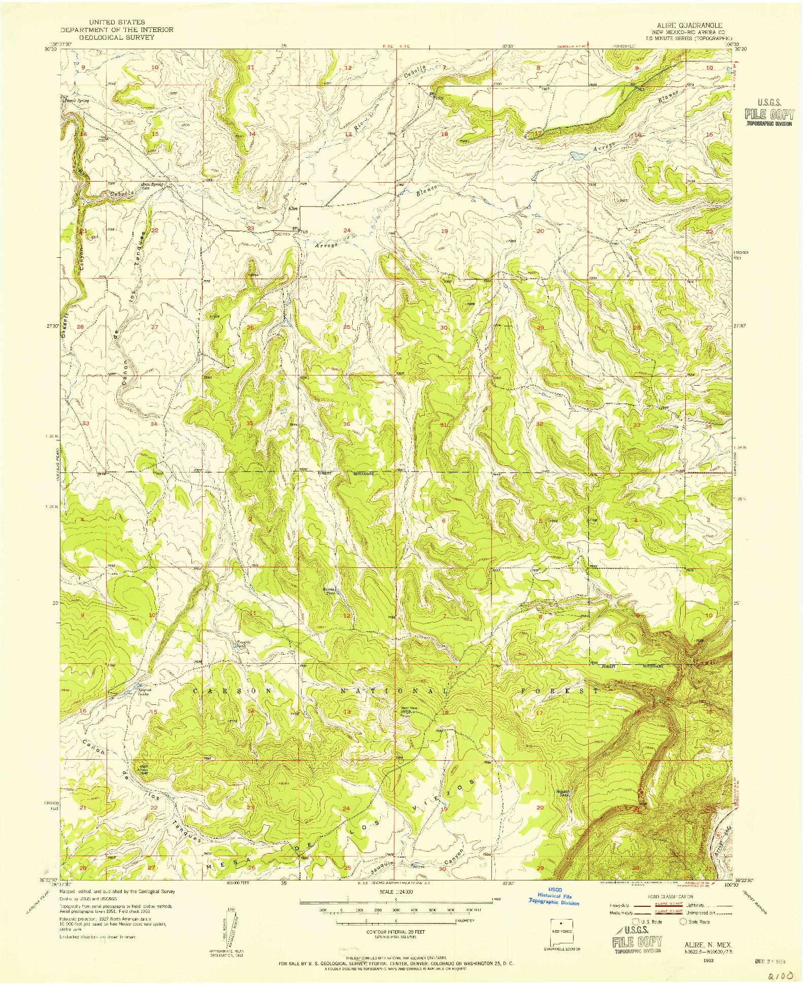 USGS 1:24000-SCALE QUADRANGLE FOR ALIRE, NM 1953