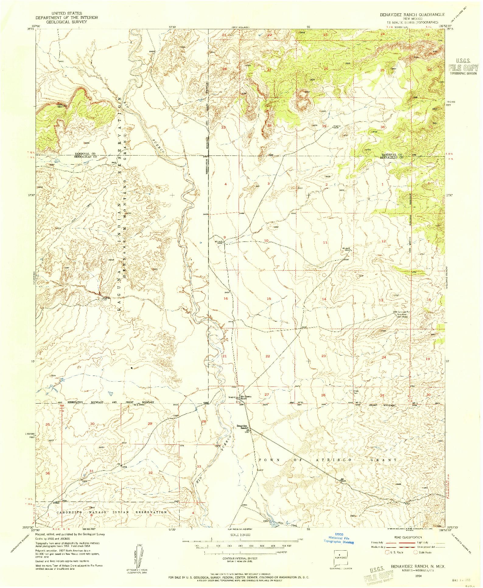 USGS 1:24000-SCALE QUADRANGLE FOR BENAVIDEZ RANCH, NM 1954