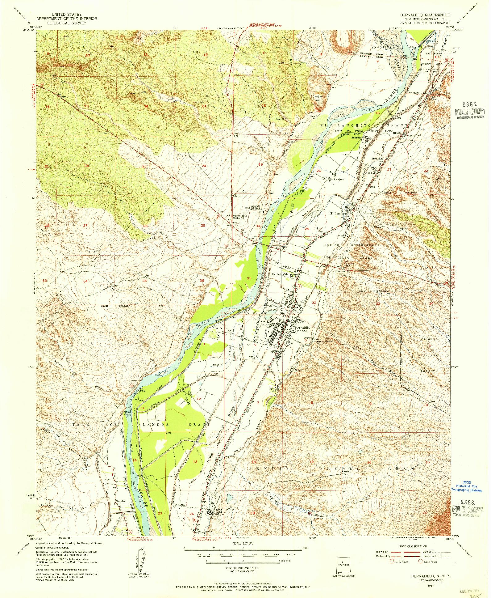 USGS 1:24000-SCALE QUADRANGLE FOR BERNALILLO, NM 1954