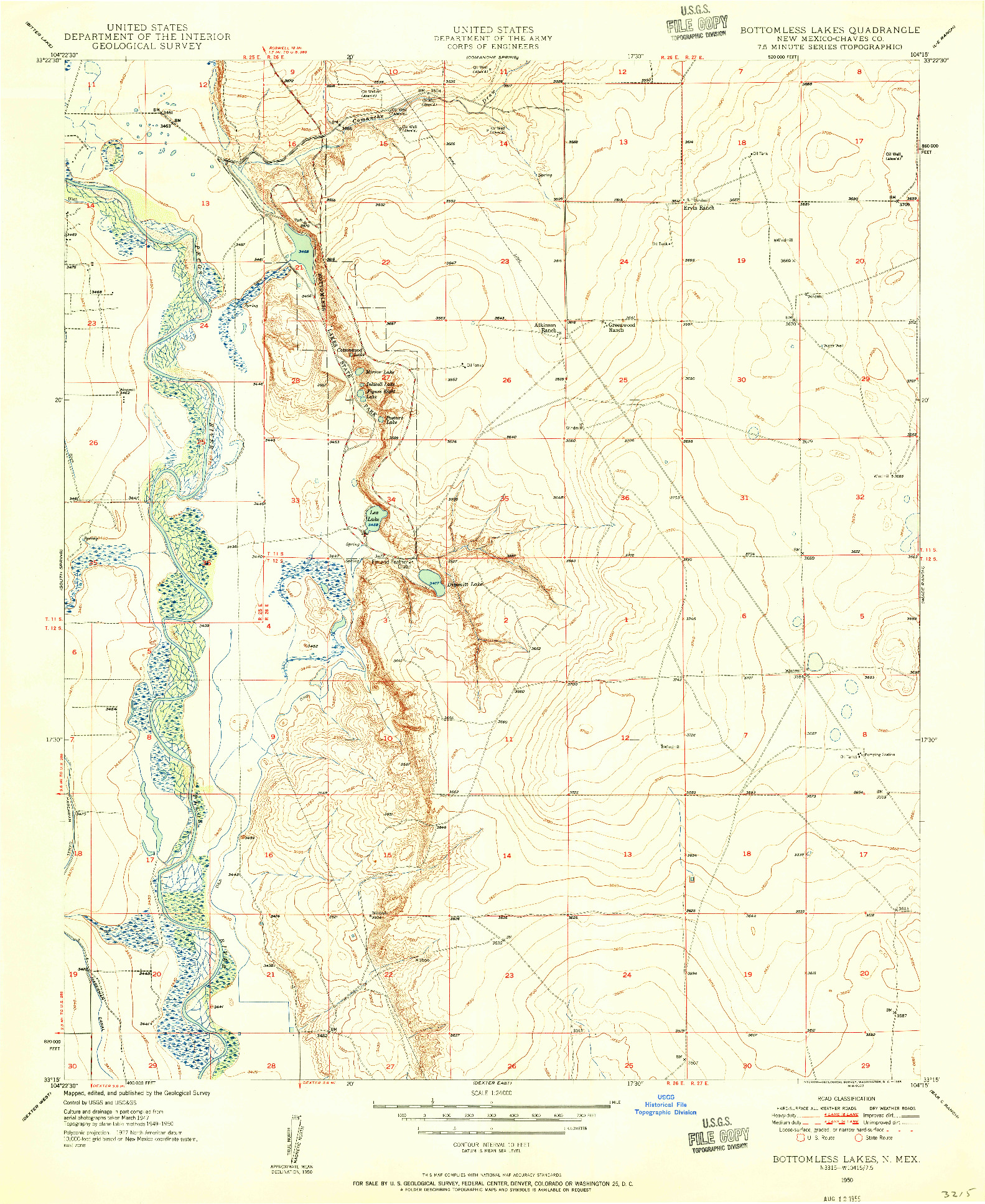 USGS 1:24000-SCALE QUADRANGLE FOR BOTTOMLESS LAKES, NM 1950