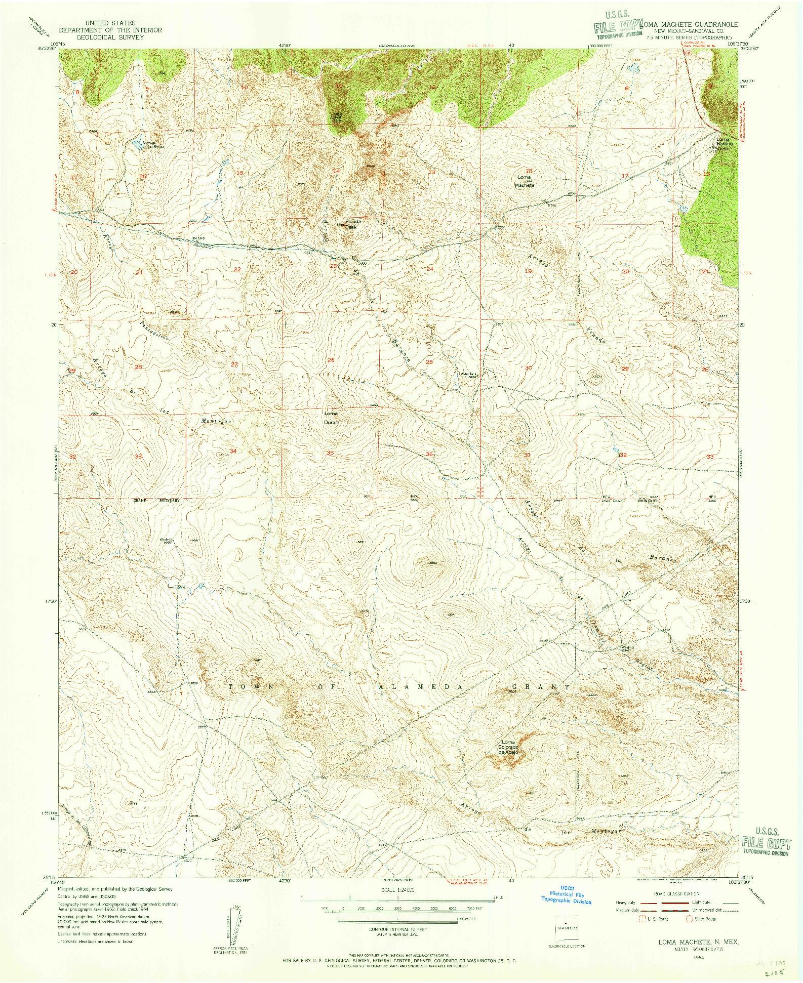 USGS 1:24000-SCALE QUADRANGLE FOR LOMA MACHETE, NM 1954