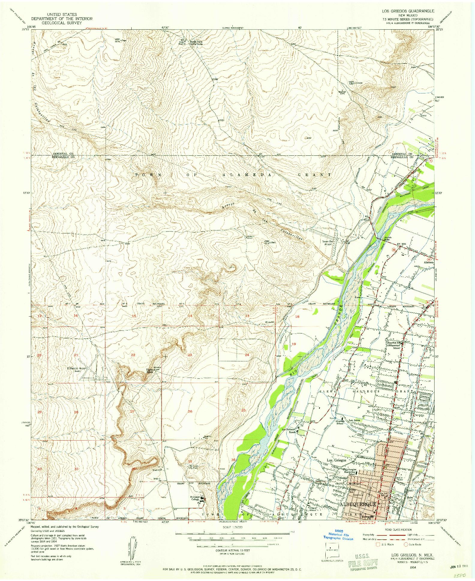USGS 1:24000-SCALE QUADRANGLE FOR LOS GRIEGOS, NM 1954