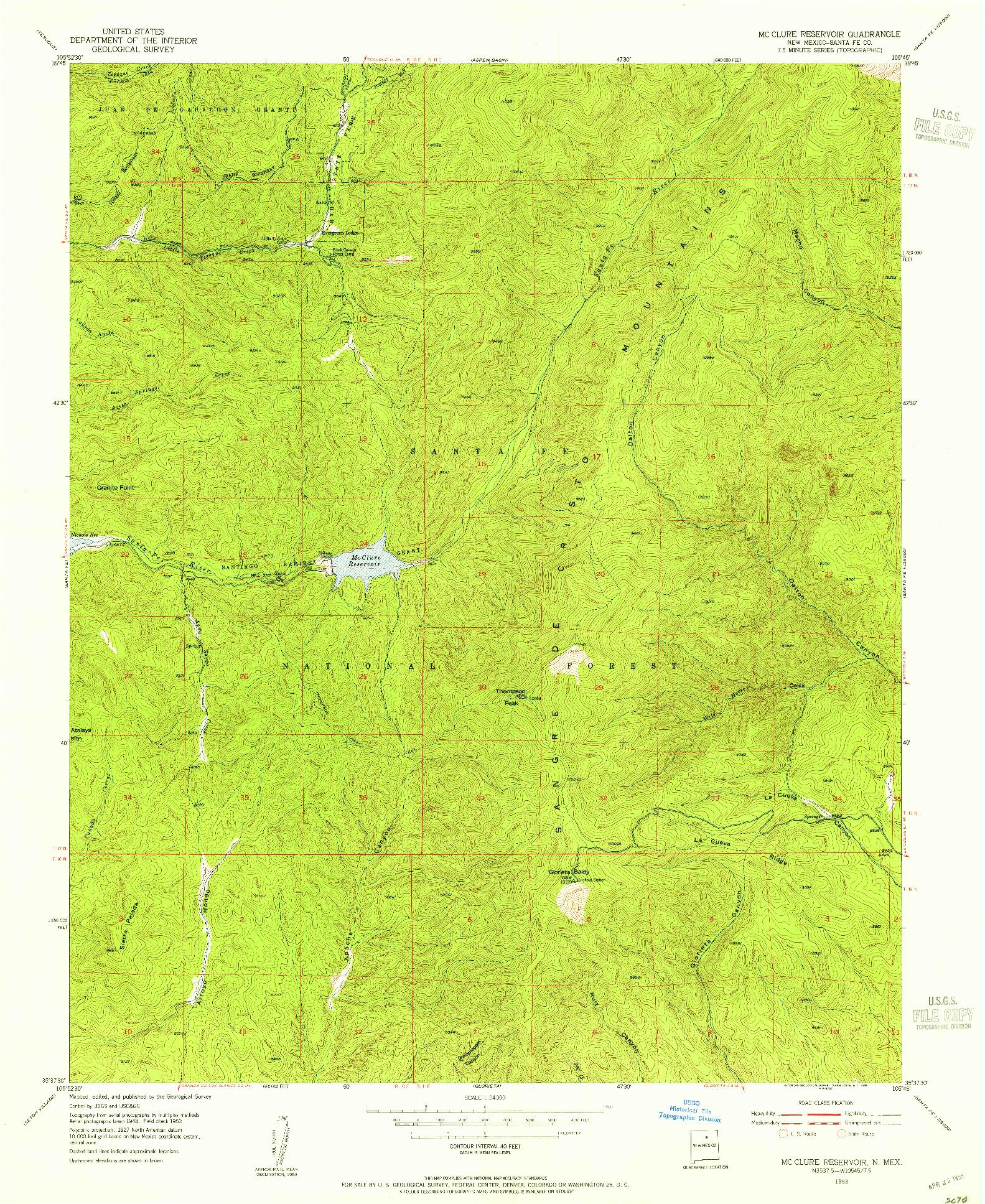 USGS 1:24000-SCALE QUADRANGLE FOR MC CLURE RESERVOIR, NM 1953