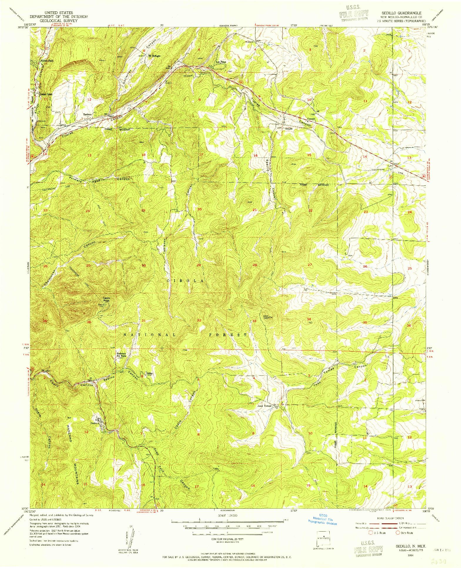 USGS 1:24000-SCALE QUADRANGLE FOR SEDILLO, NM 1954