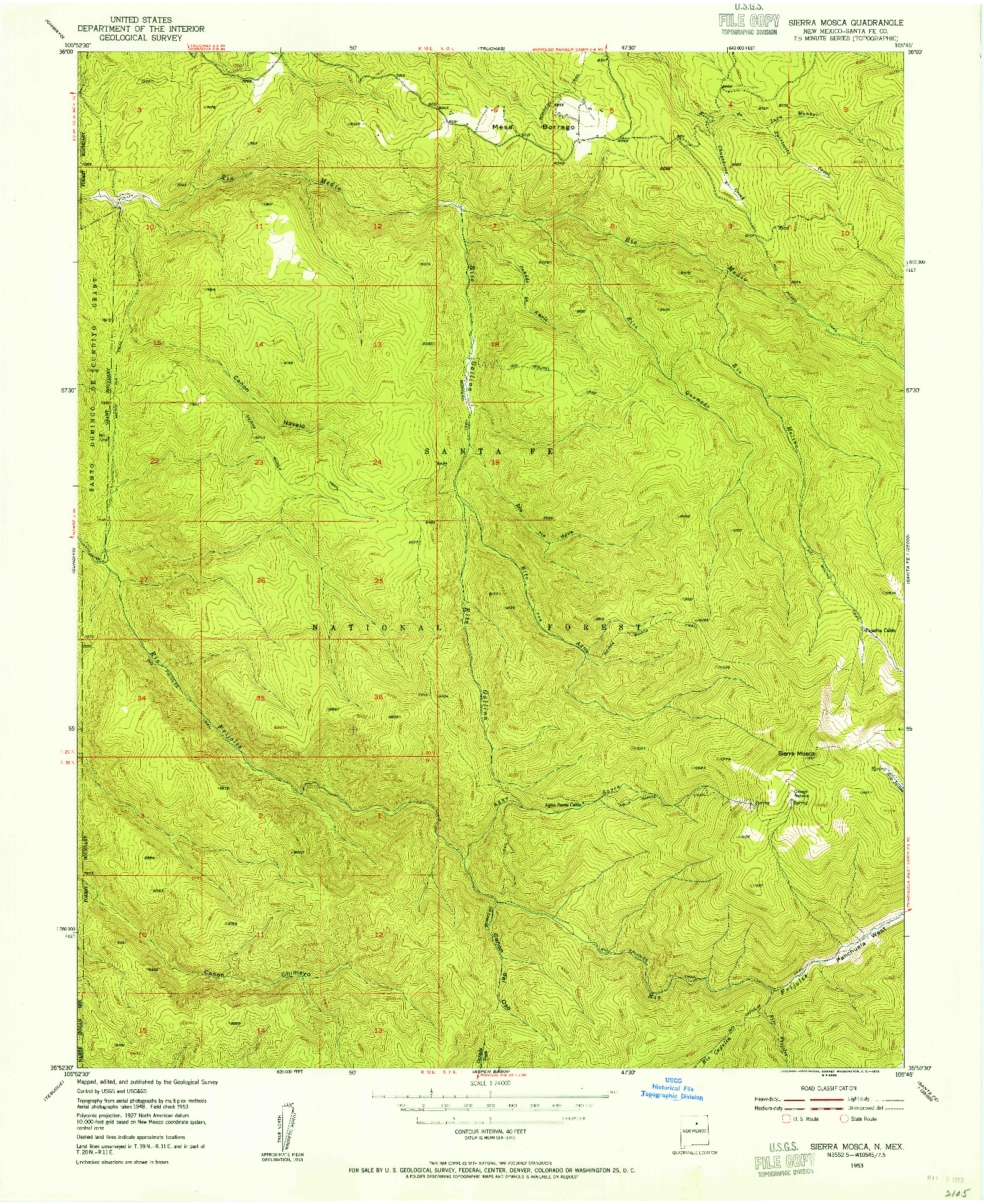 USGS 1:24000-SCALE QUADRANGLE FOR SIERRA MOSCA, NM 1953