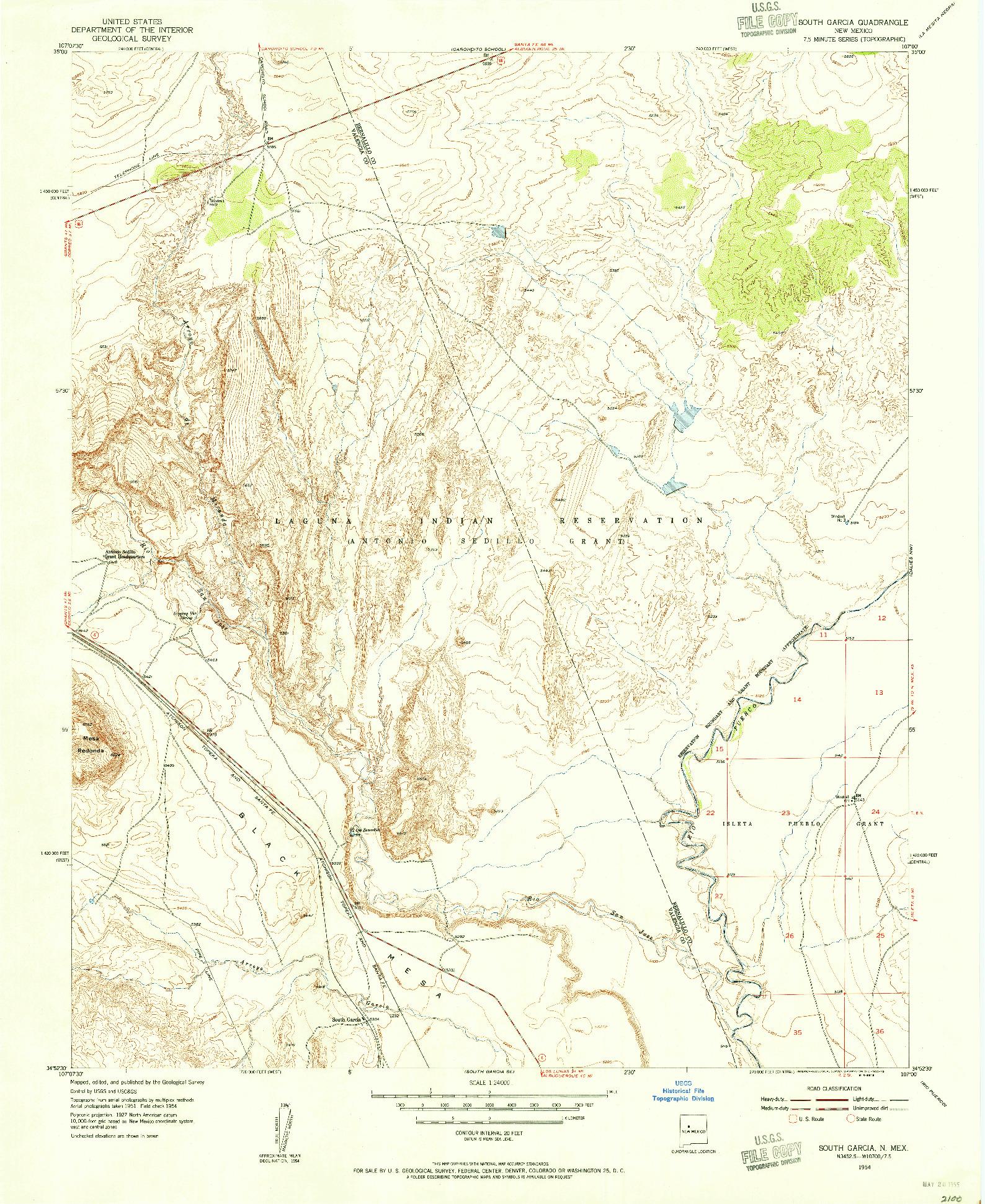 USGS 1:24000-SCALE QUADRANGLE FOR SOUTH GARCIA, NM 1954