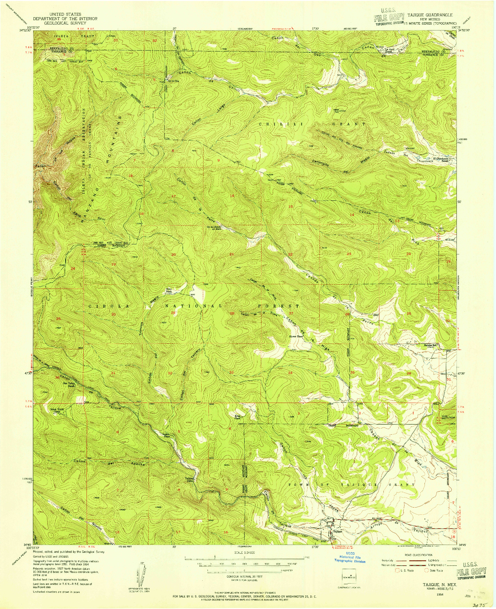 USGS 1:24000-SCALE QUADRANGLE FOR TAJIQUE, NM 1954