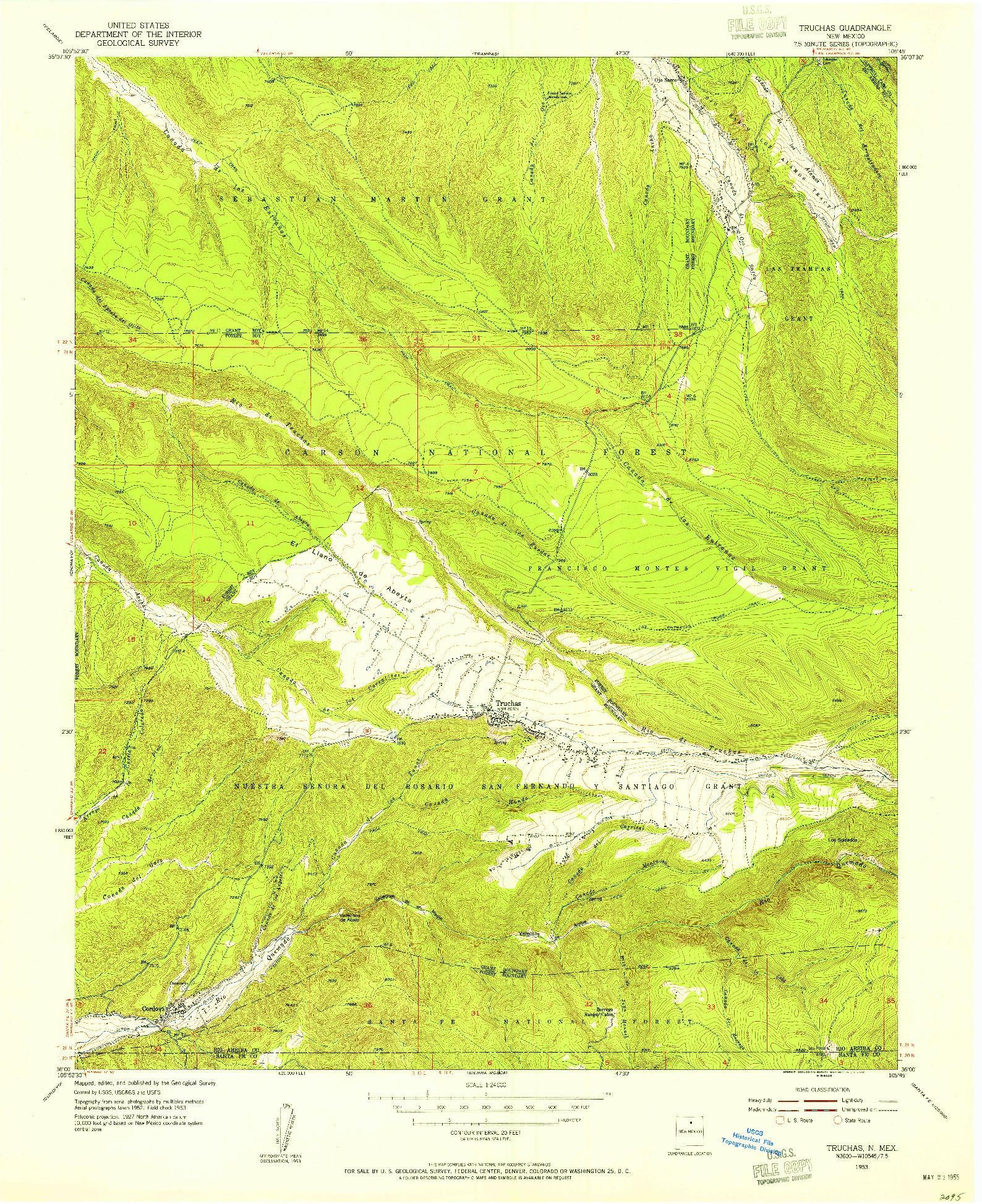 USGS 1:24000-SCALE QUADRANGLE FOR TRUCHAS, NM 1953