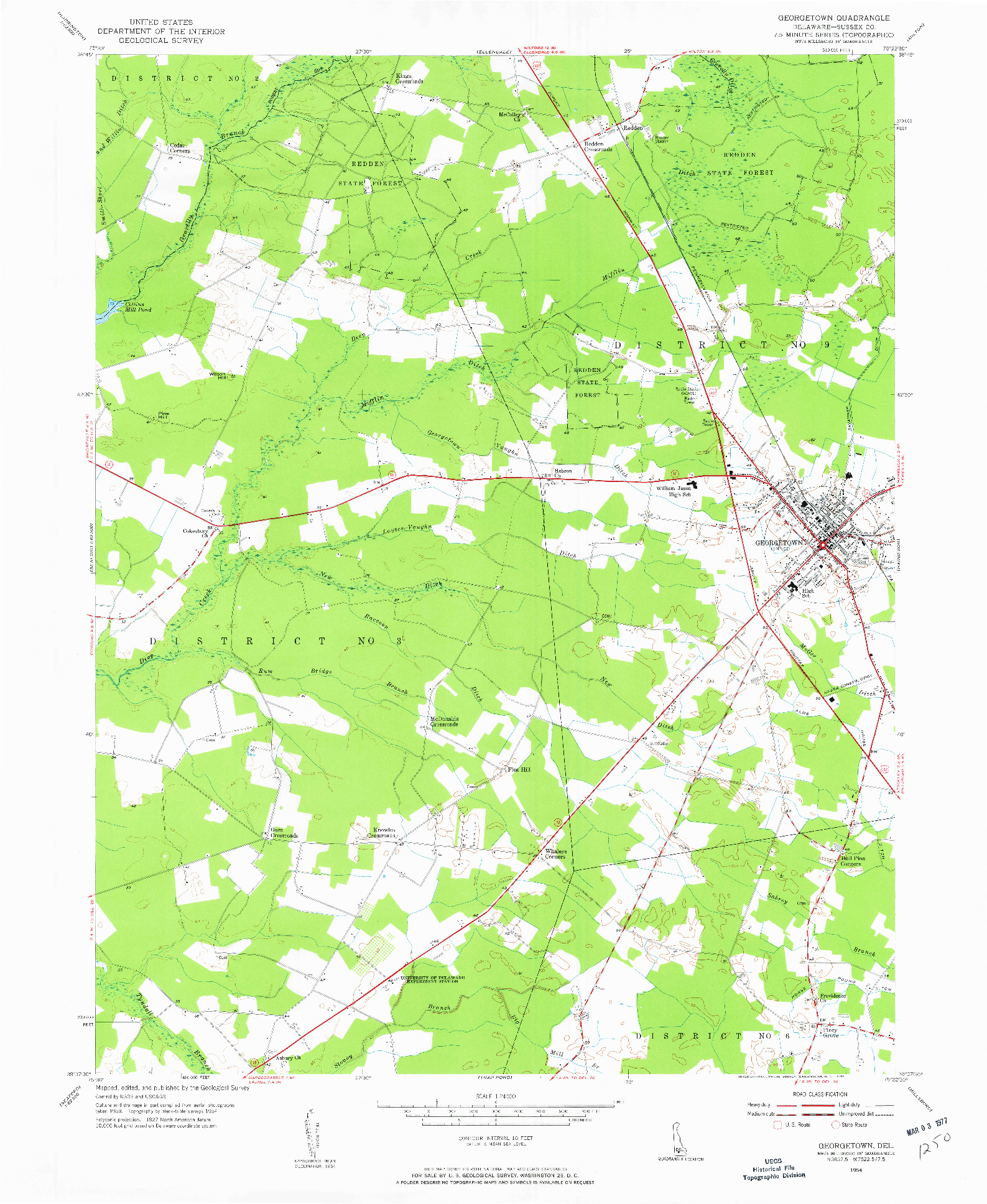 USGS 1:24000-SCALE QUADRANGLE FOR GEORGETOWN, DE 1954