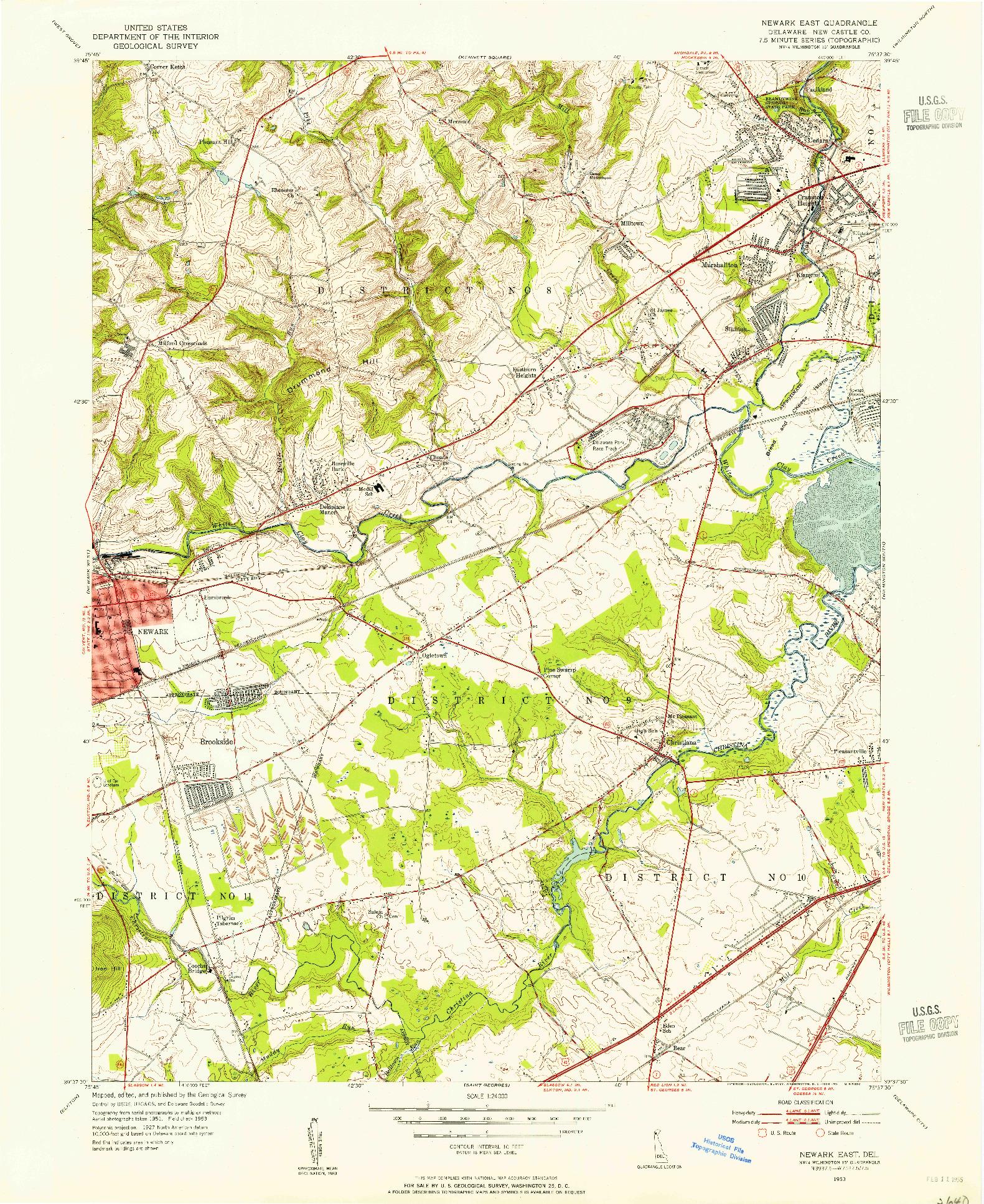 USGS 1:24000-SCALE QUADRANGLE FOR NEWARK EAST, DE 1953