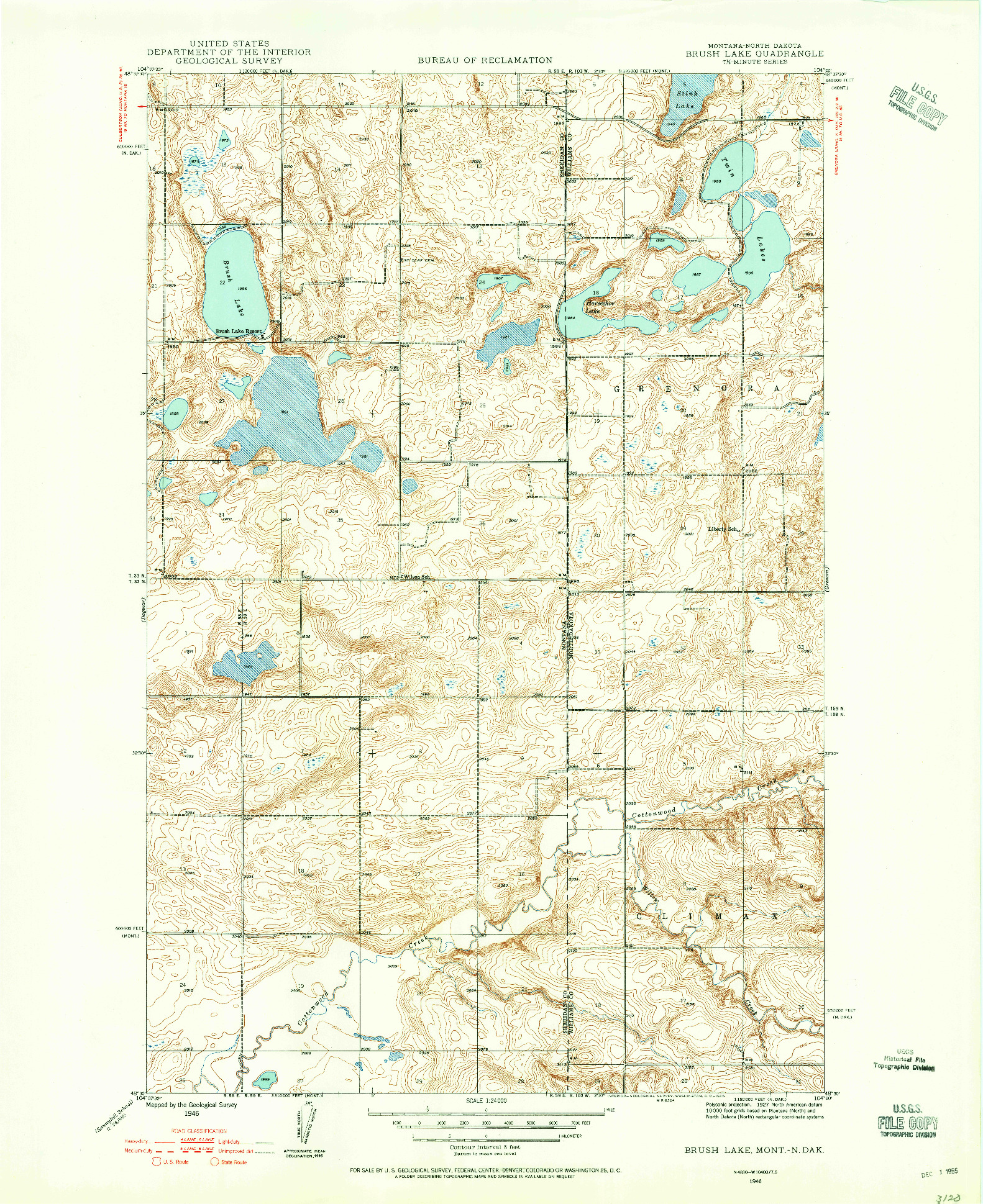 USGS 1:24000-SCALE QUADRANGLE FOR BRUSH LAKE, MT 1946