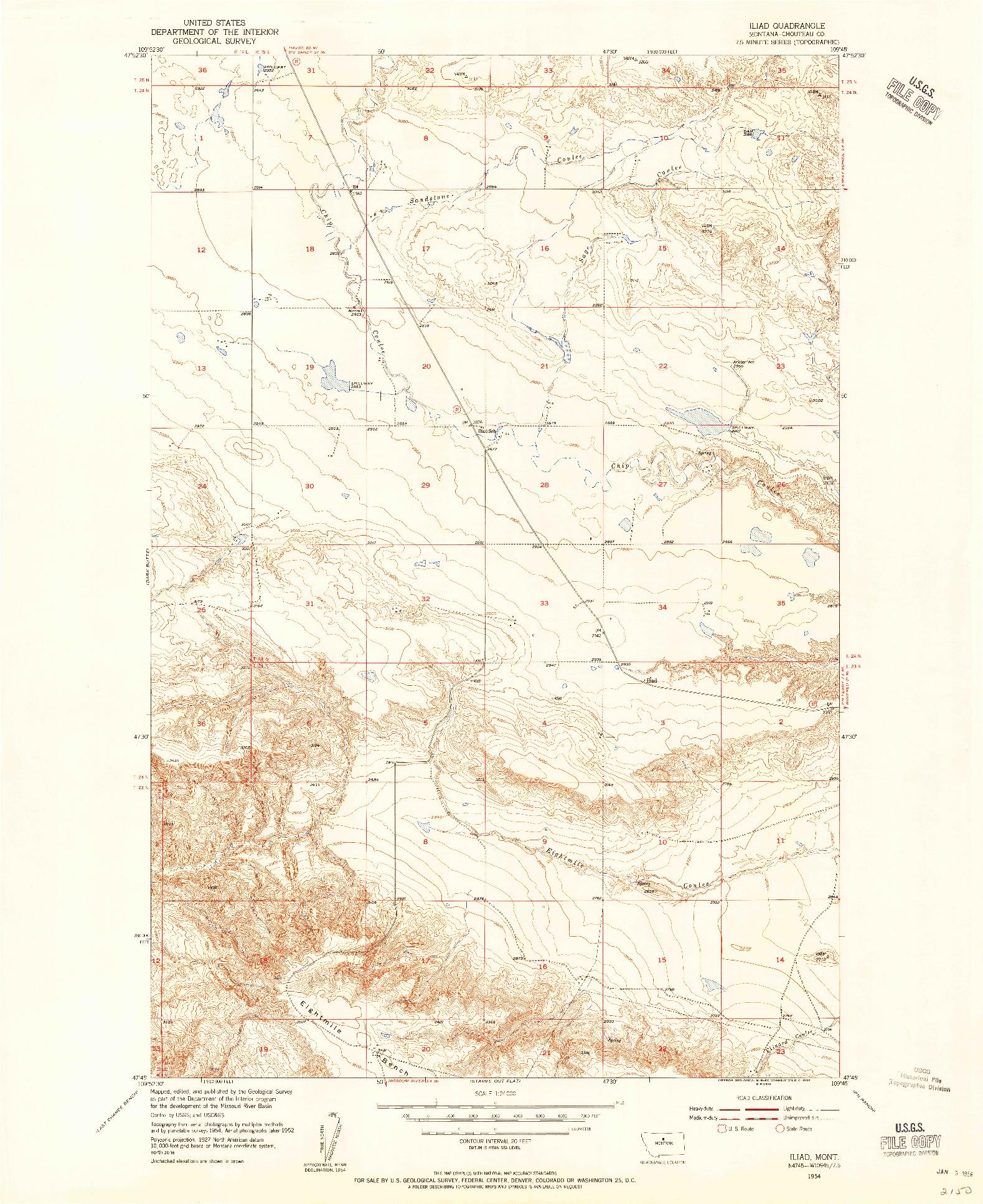 USGS 1:24000-SCALE QUADRANGLE FOR ILIAD, MT 1954