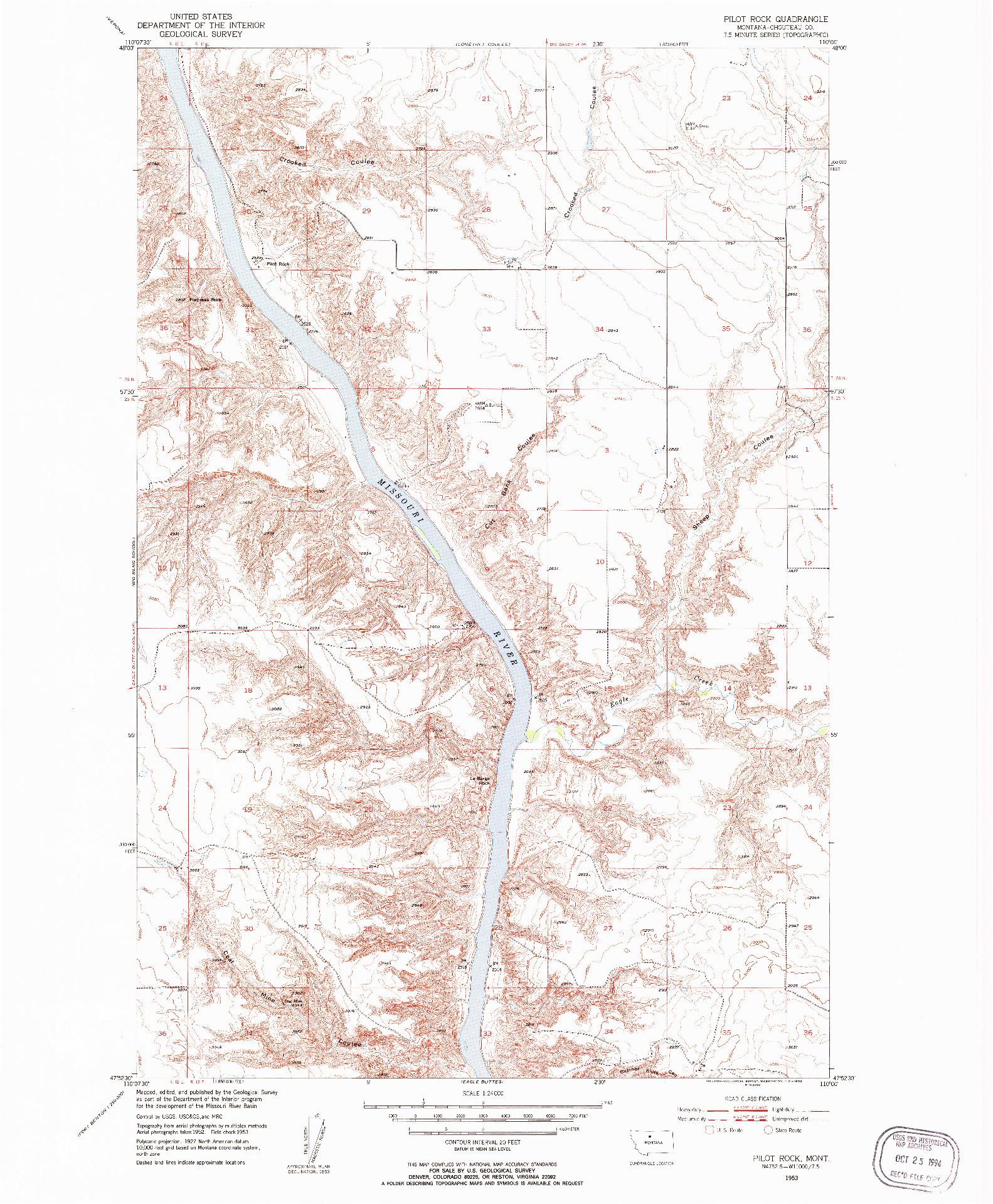 USGS 1:24000-SCALE QUADRANGLE FOR PILOT ROCK, MT 1953