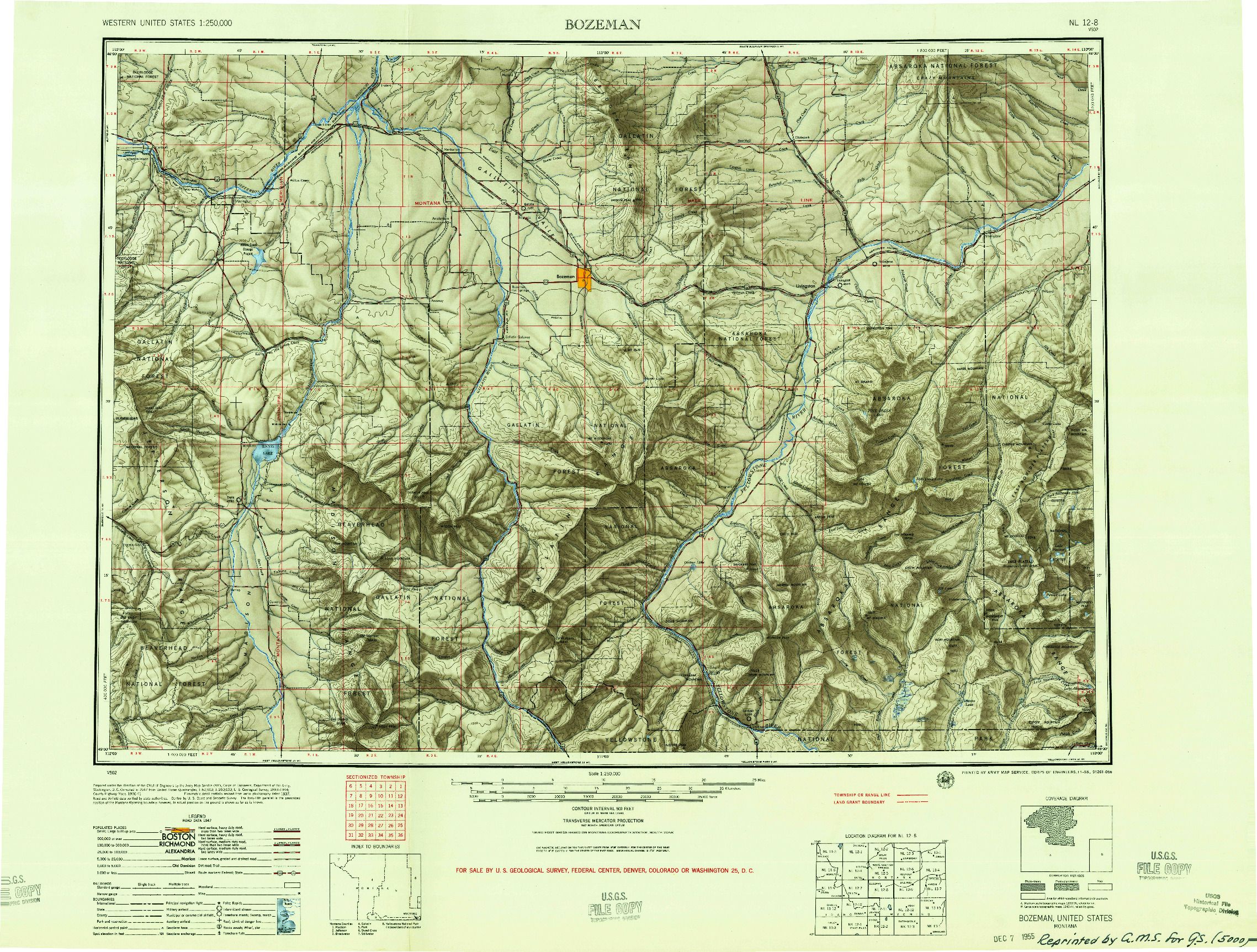 USGS 1:250000-SCALE QUADRANGLE FOR BOZEMAN, MT 1955