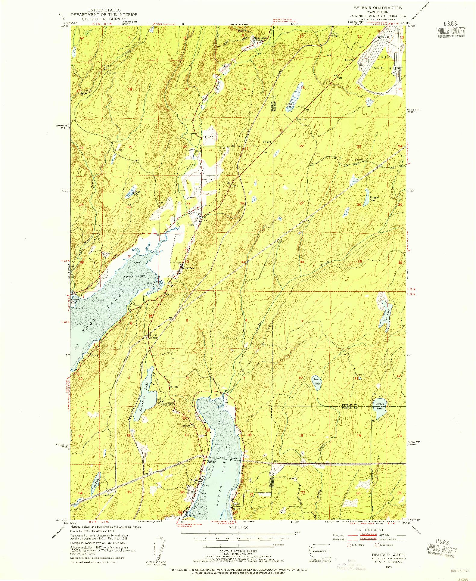 USGS 1:24000-SCALE QUADRANGLE FOR BELFAIR, WA 1953