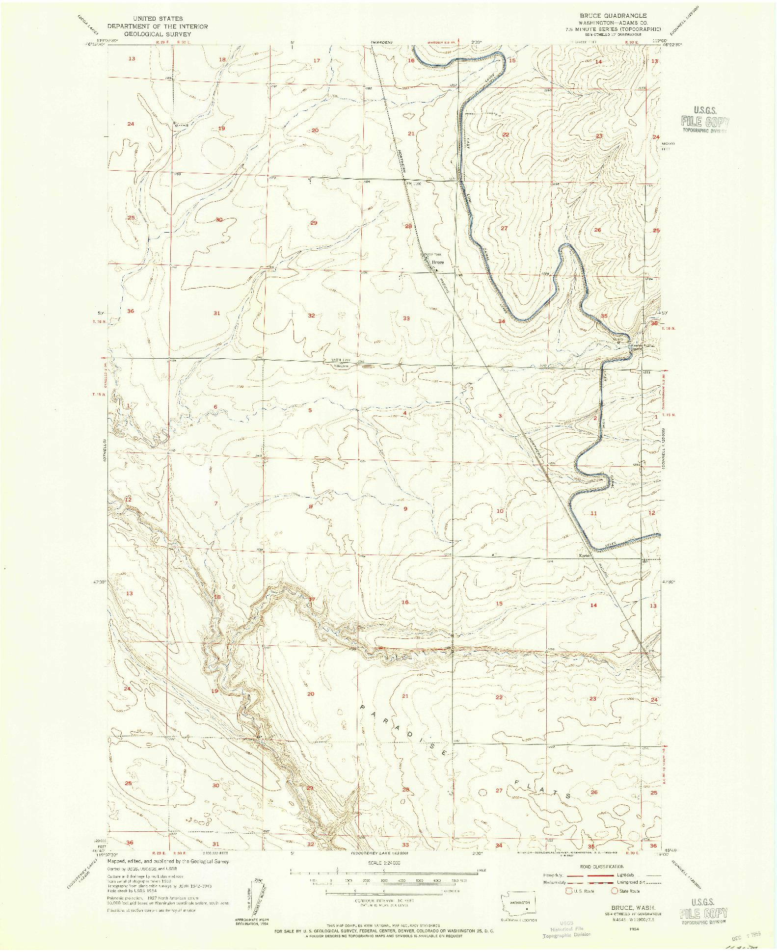 USGS 1:24000-SCALE QUADRANGLE FOR BRUCE, WA 1954