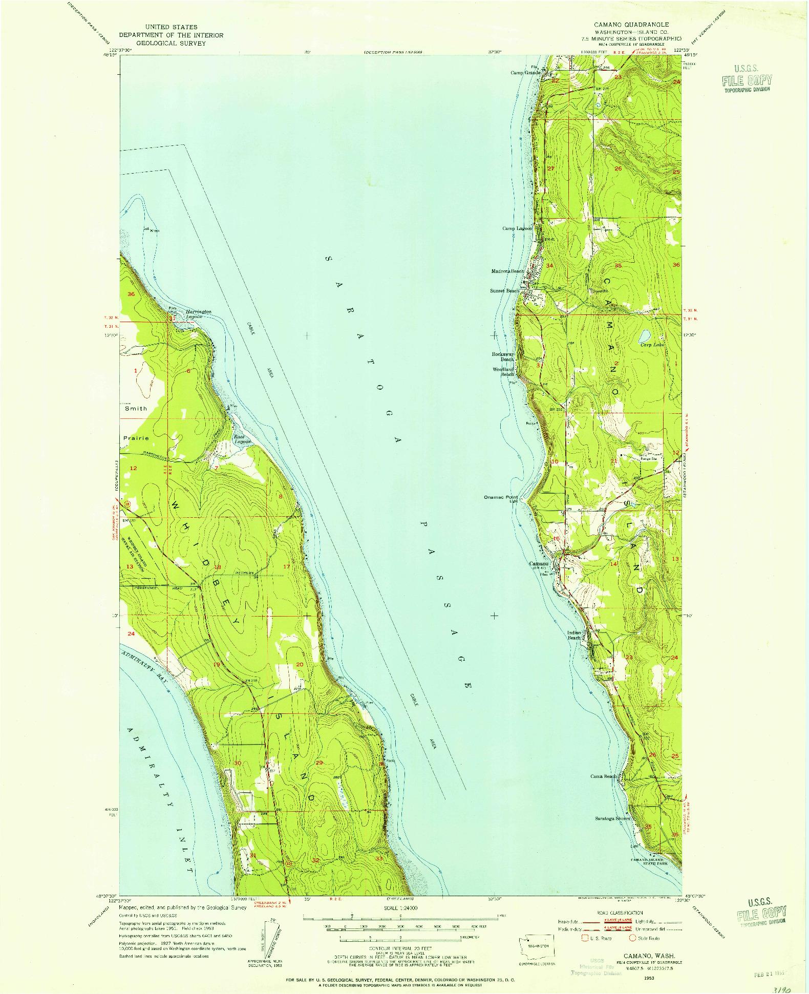USGS 1:24000-SCALE QUADRANGLE FOR CAMANO, WA 1953