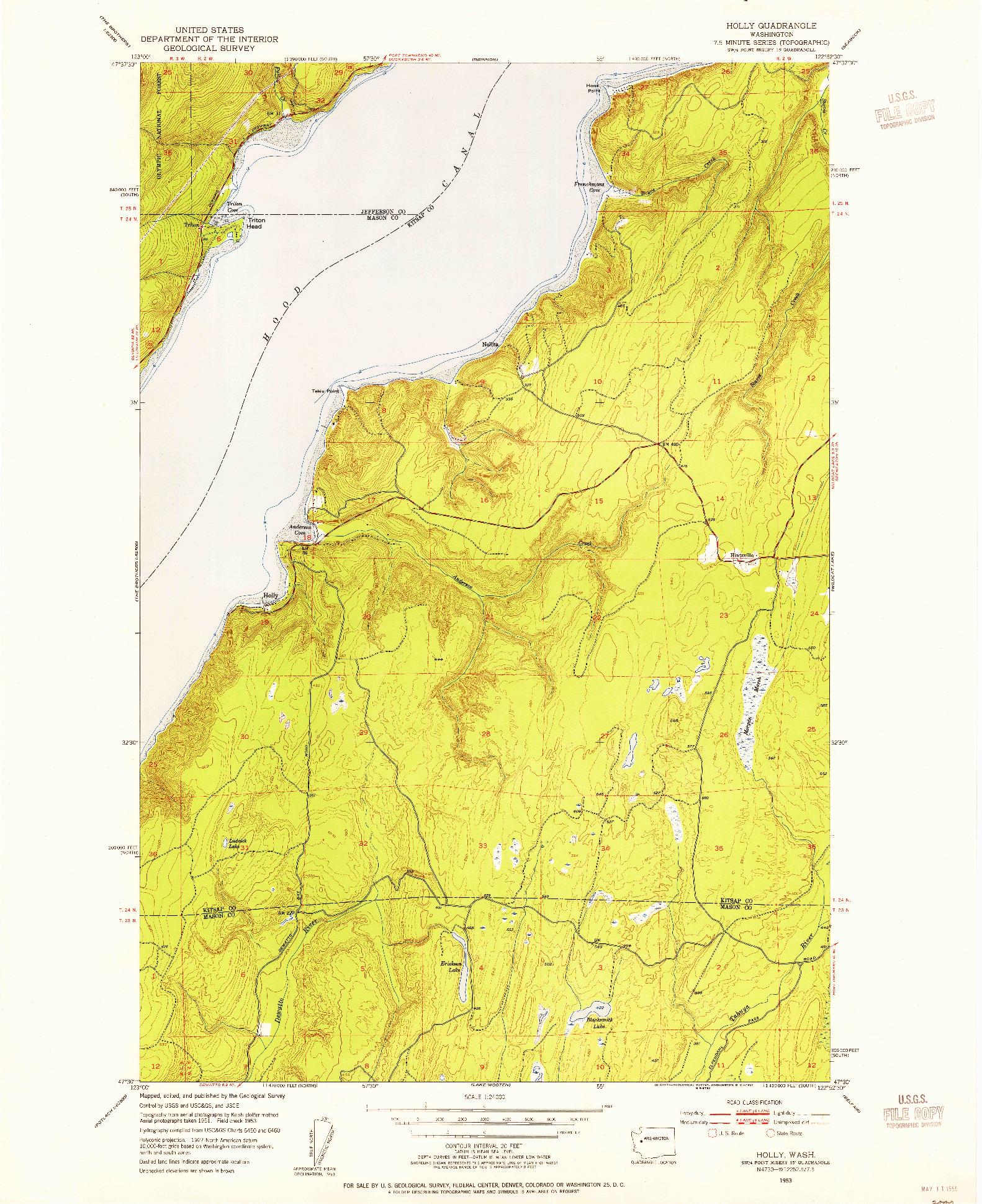 USGS 1:24000-SCALE QUADRANGLE FOR HOLLY, WA 1953